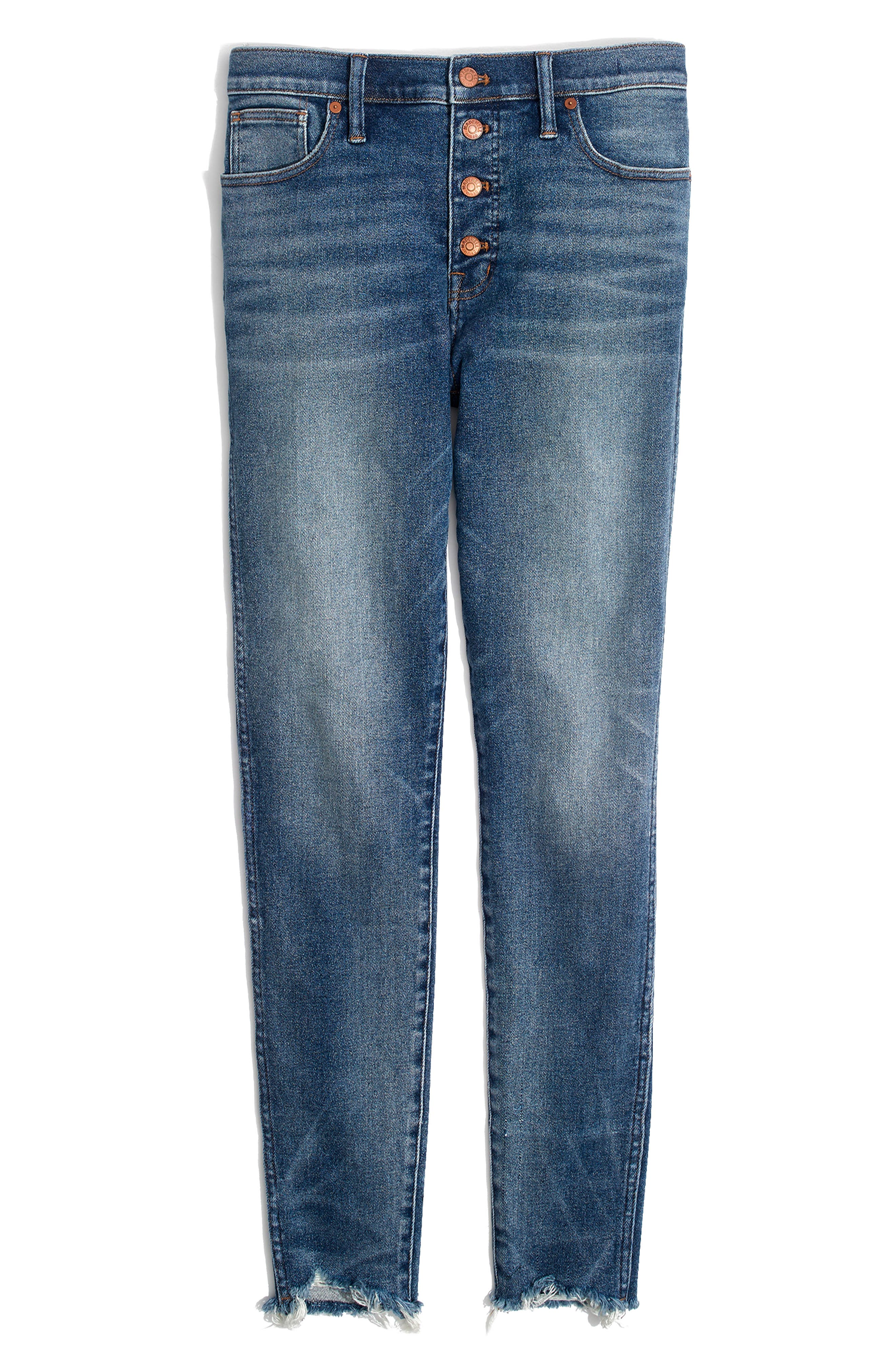 MADEWELL, 10-Inch High Waist Skinny Jeans, Alternate thumbnail 7, color, CORDOVA