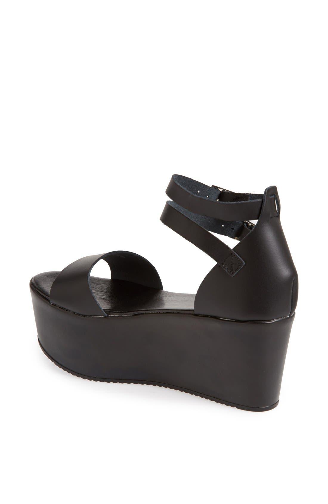 TOPSHOP, 'Wallis' Ankle Strap Platform Sandal, Alternate thumbnail 2, color, 001