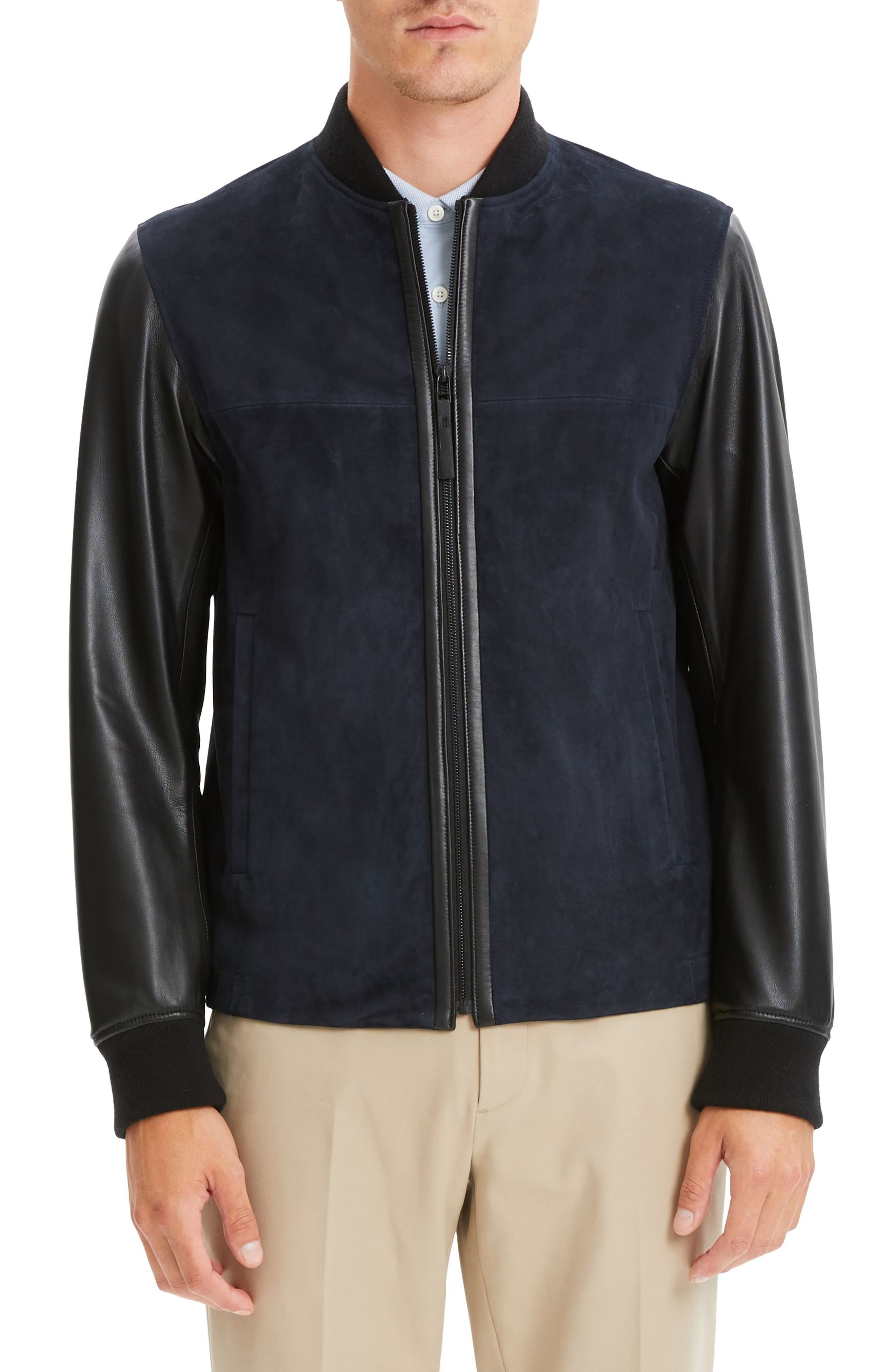 THEORY, Amir Regular Fit Suede & Leather Bomber Jacket, Main thumbnail 1, color, ECLIPSE/ BLACK