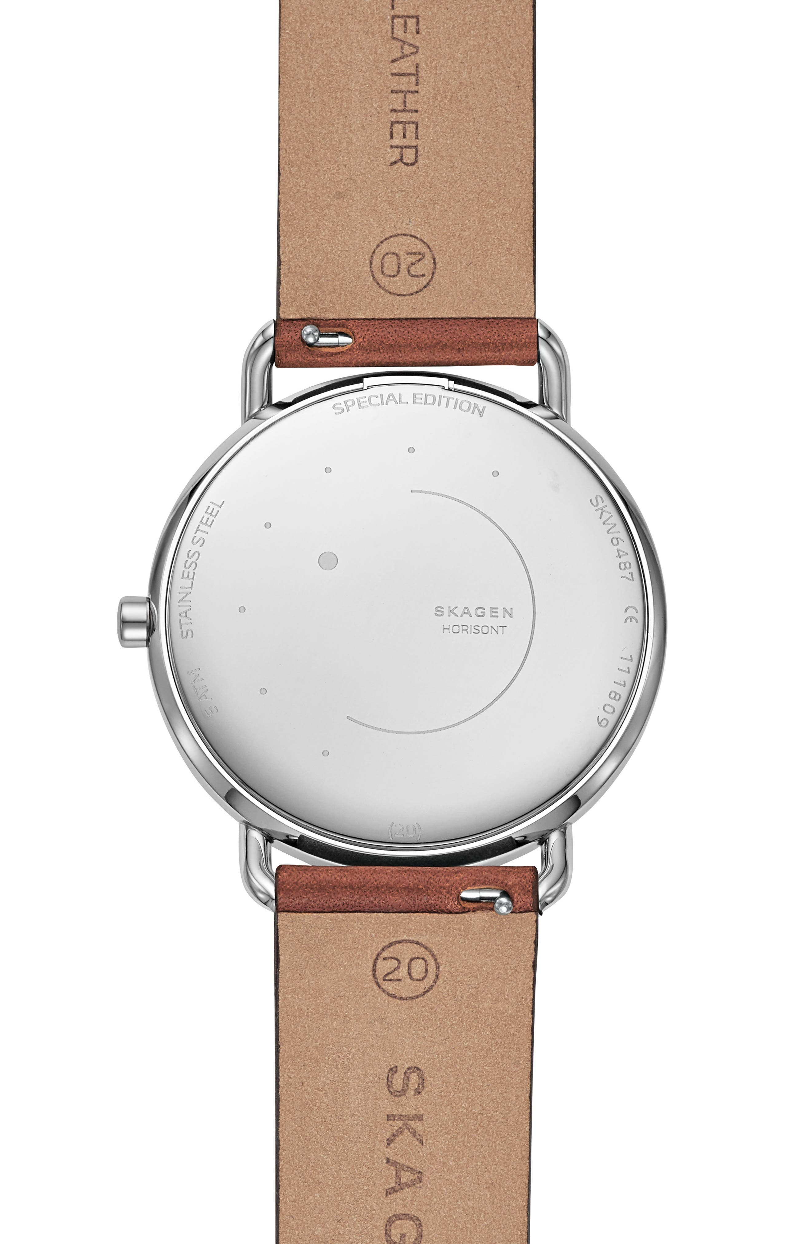 SKAGEN, Horisont Leather Strap Watch, 40mm, Alternate thumbnail 2, color, 200