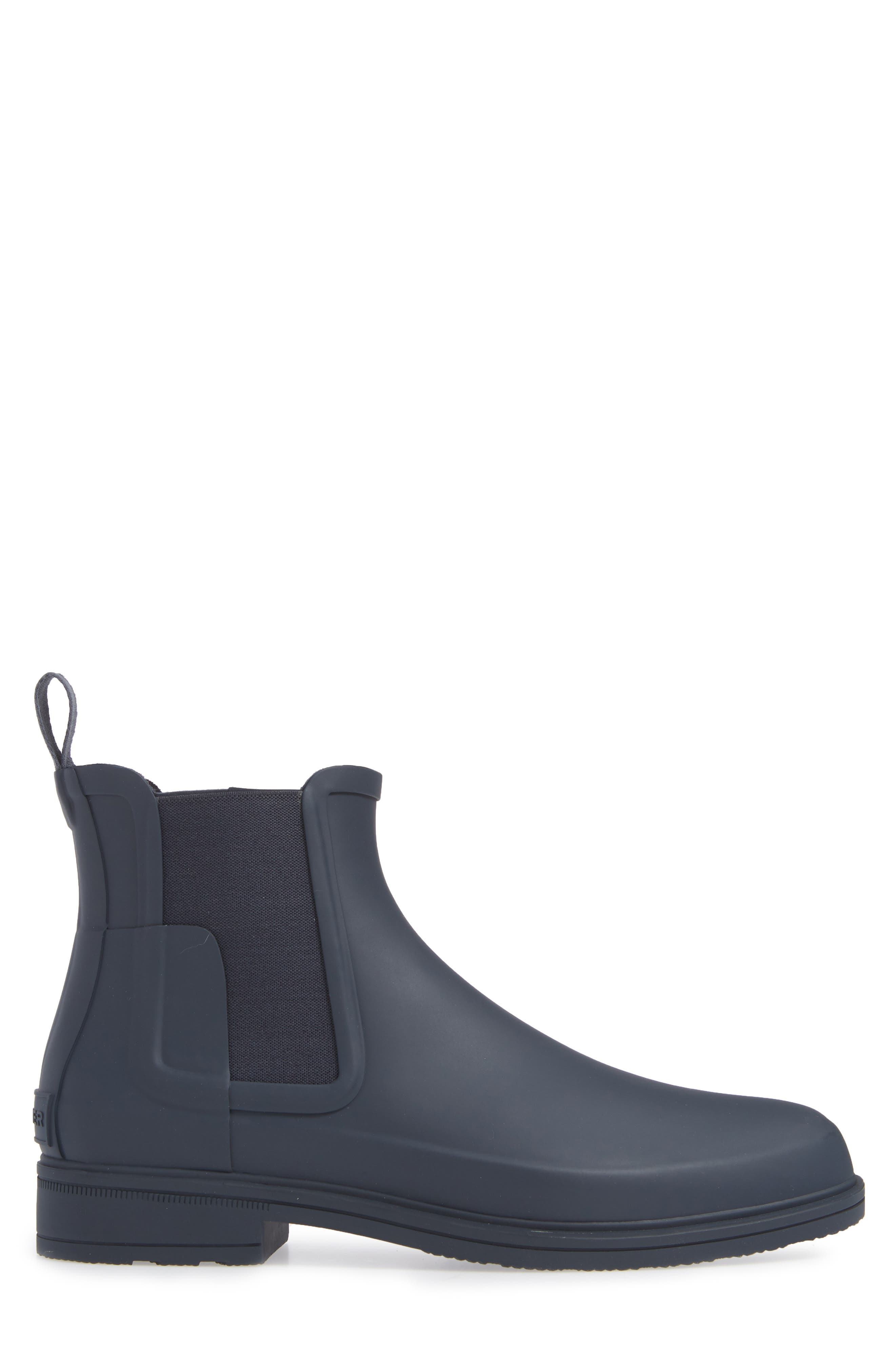 HUNTER, Original Refined Waterproof Chelsea Boot, Alternate thumbnail 3, color, NAVY RUBBER