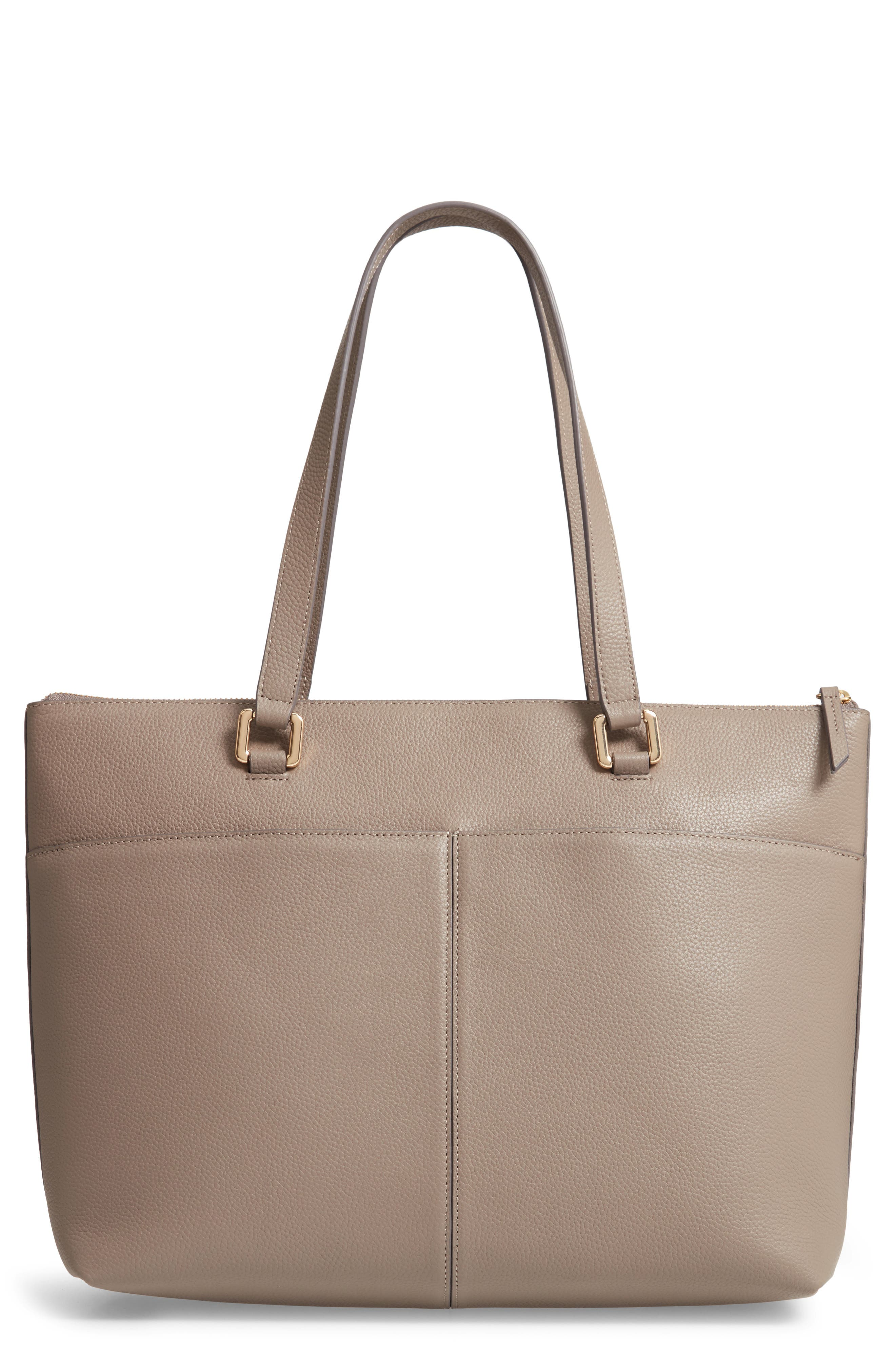 NORDSTROM, Lexa Pebbled Leather Tote, Main thumbnail 1, color, GREY TAUPE