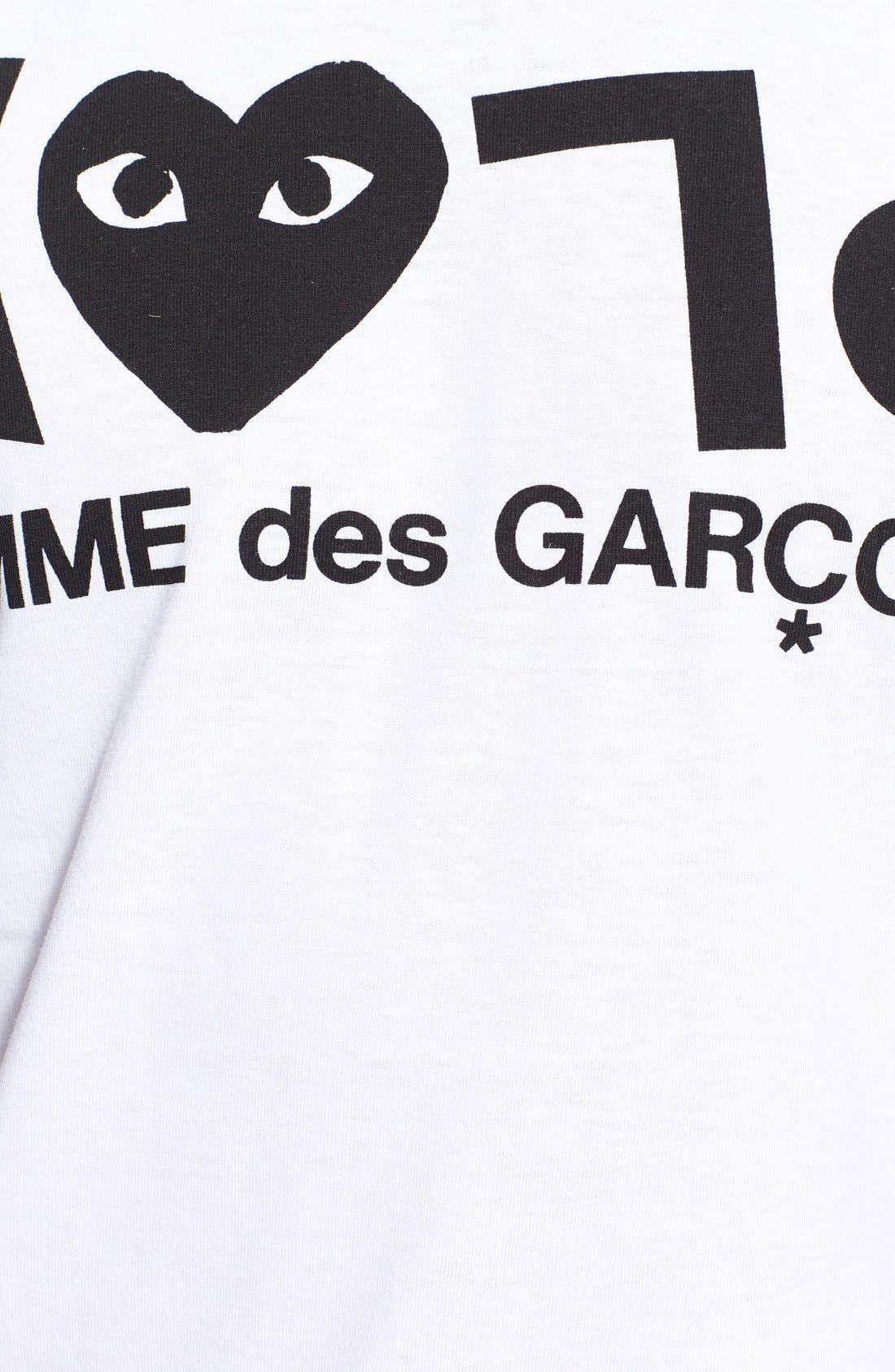 COMME DES GARÇONS PLAY, Graphic T-Shirt, Alternate thumbnail 2, color, WHITE