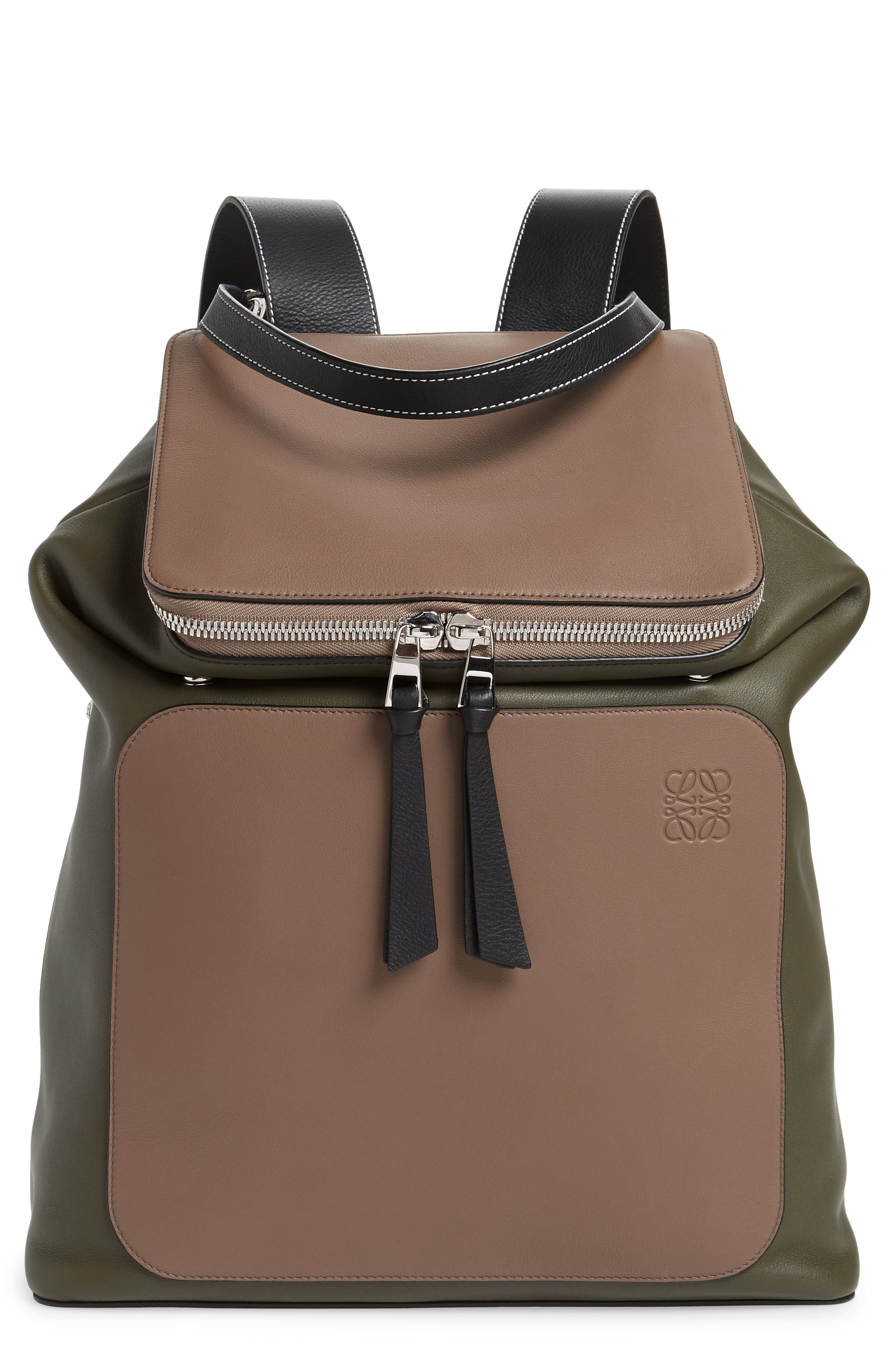 LOEWE Goya Backpack, Main, color, DARK TAUPE/ GREEN MILITARY