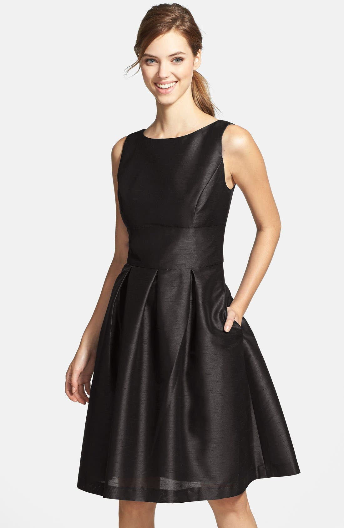 ALFRED SUNG, Dupioni Fit & Flare Dress, Main thumbnail 1, color, 001