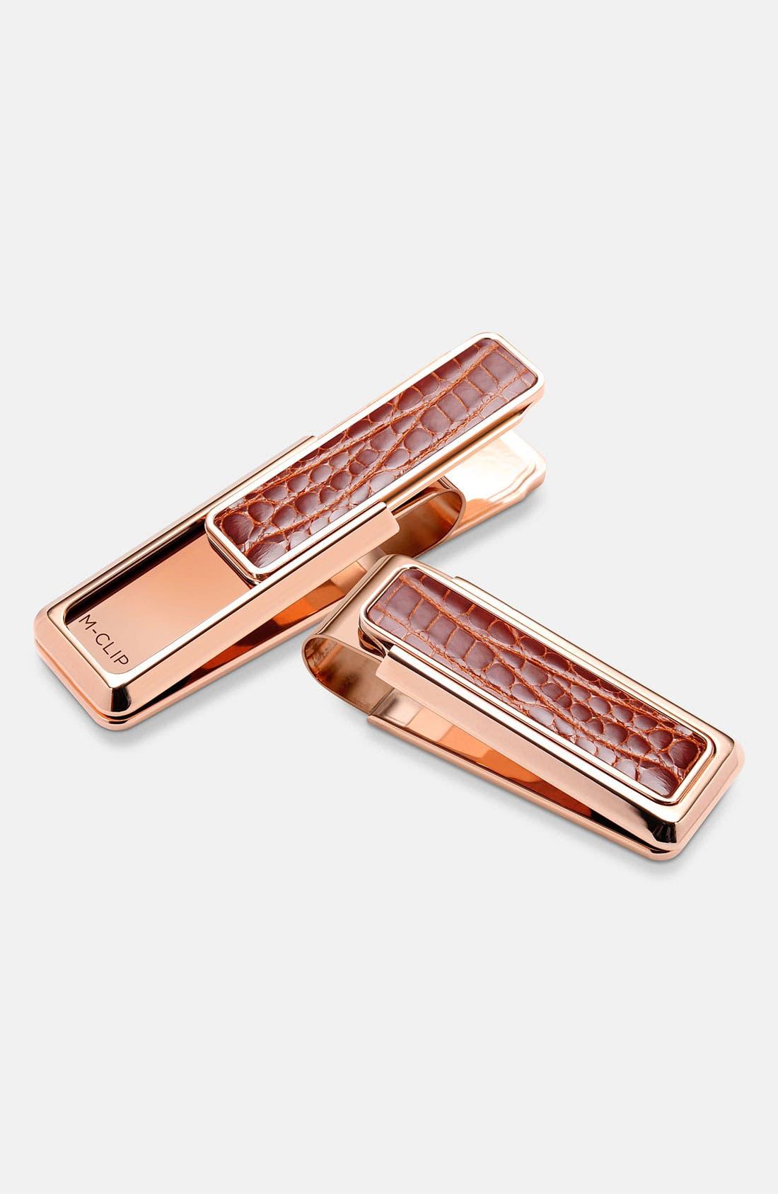 M-CLIP<SUP>®</SUP> 'New Yorker Alligator' Money Clip, Main, color, ROSE GOLD/ COGNAC