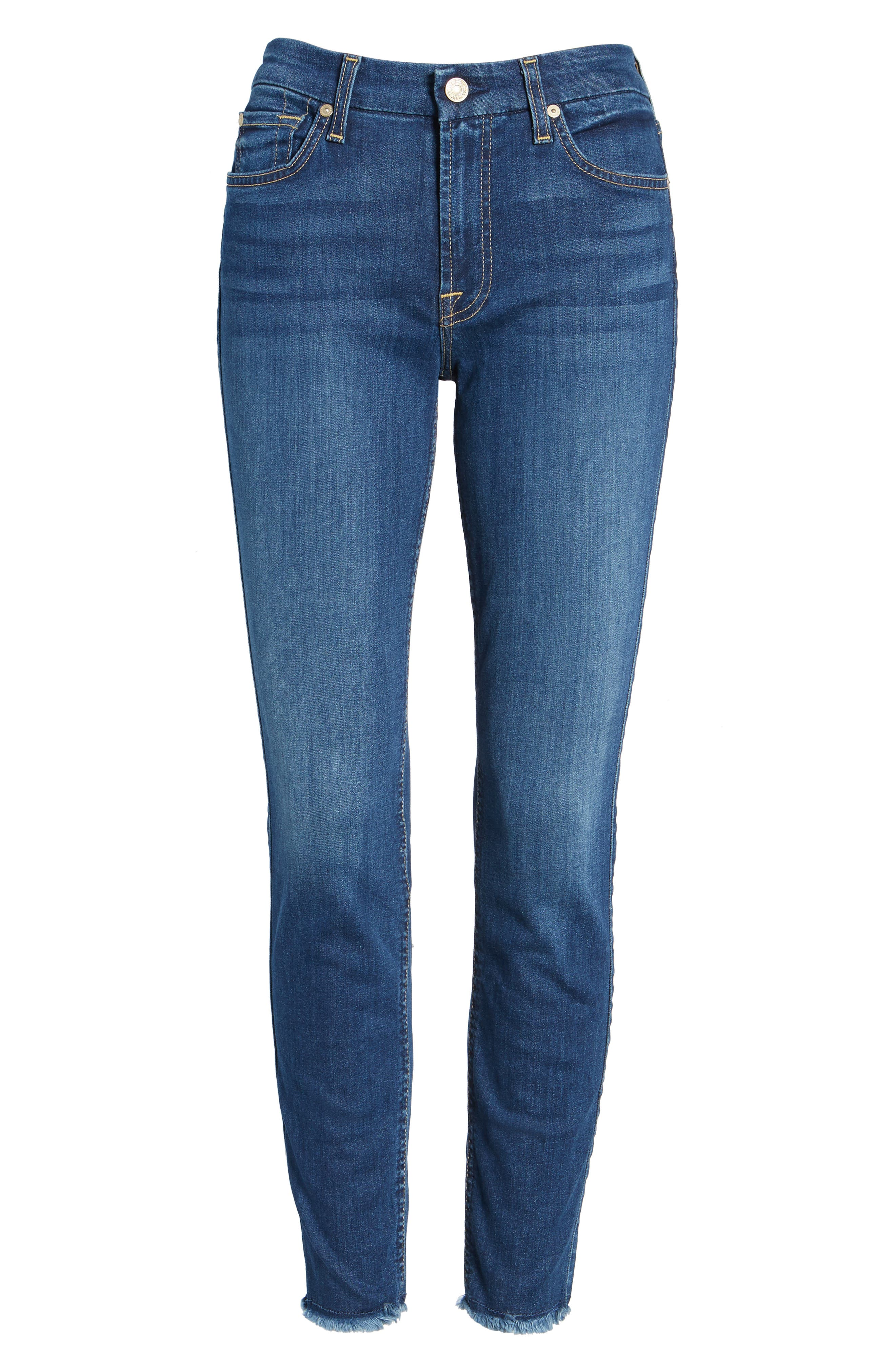 7 FOR ALL MANKIND<SUP>®</SUP>, b(air) Raw Hem Ankle Skinny Jeans, Alternate thumbnail 6, color, BAIR REIGN