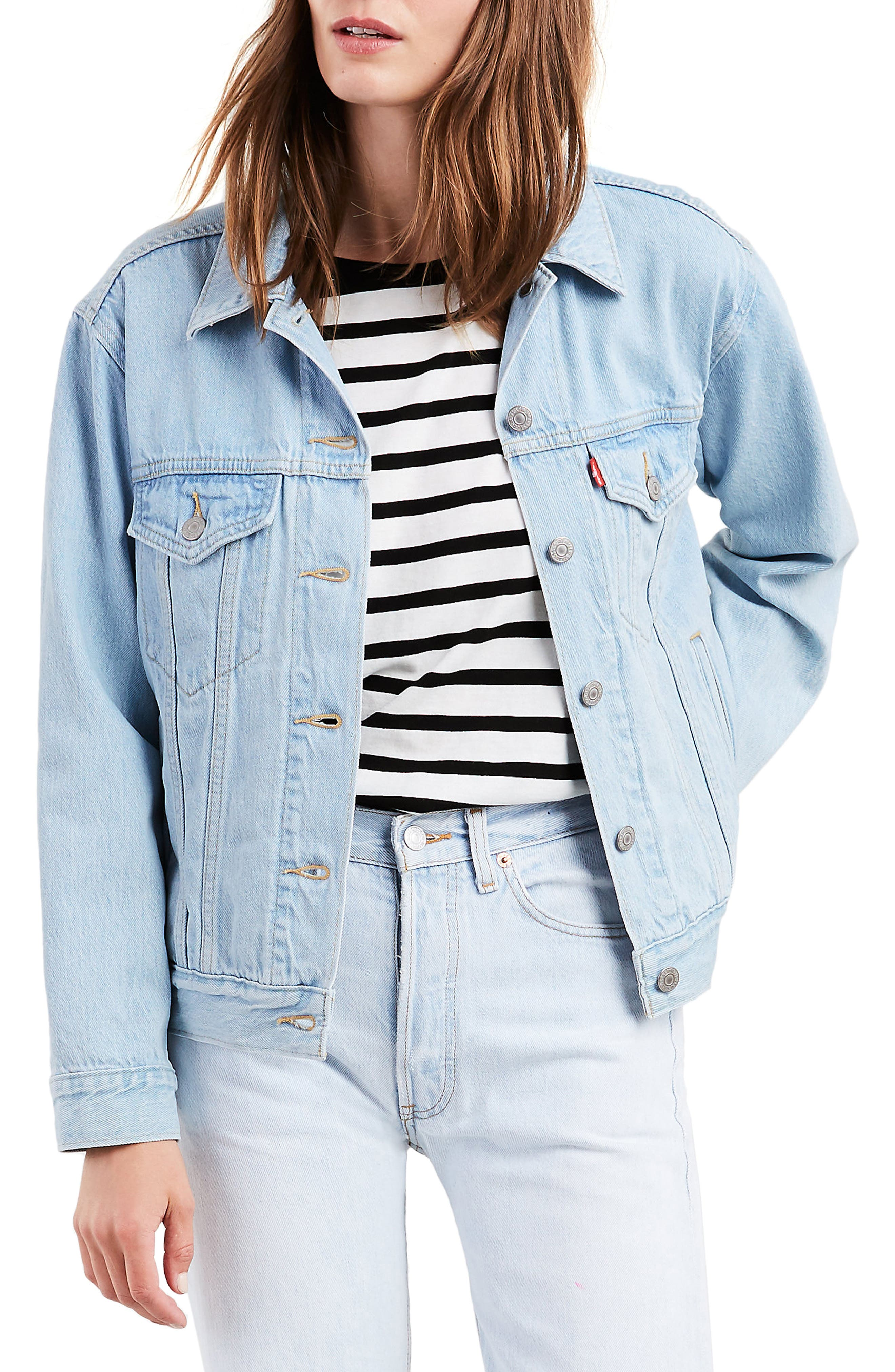 LEVI'S<SUP>®</SUP>, Ex-Boyfriend Denim Trucker Jacket, Main thumbnail 1, color, 420