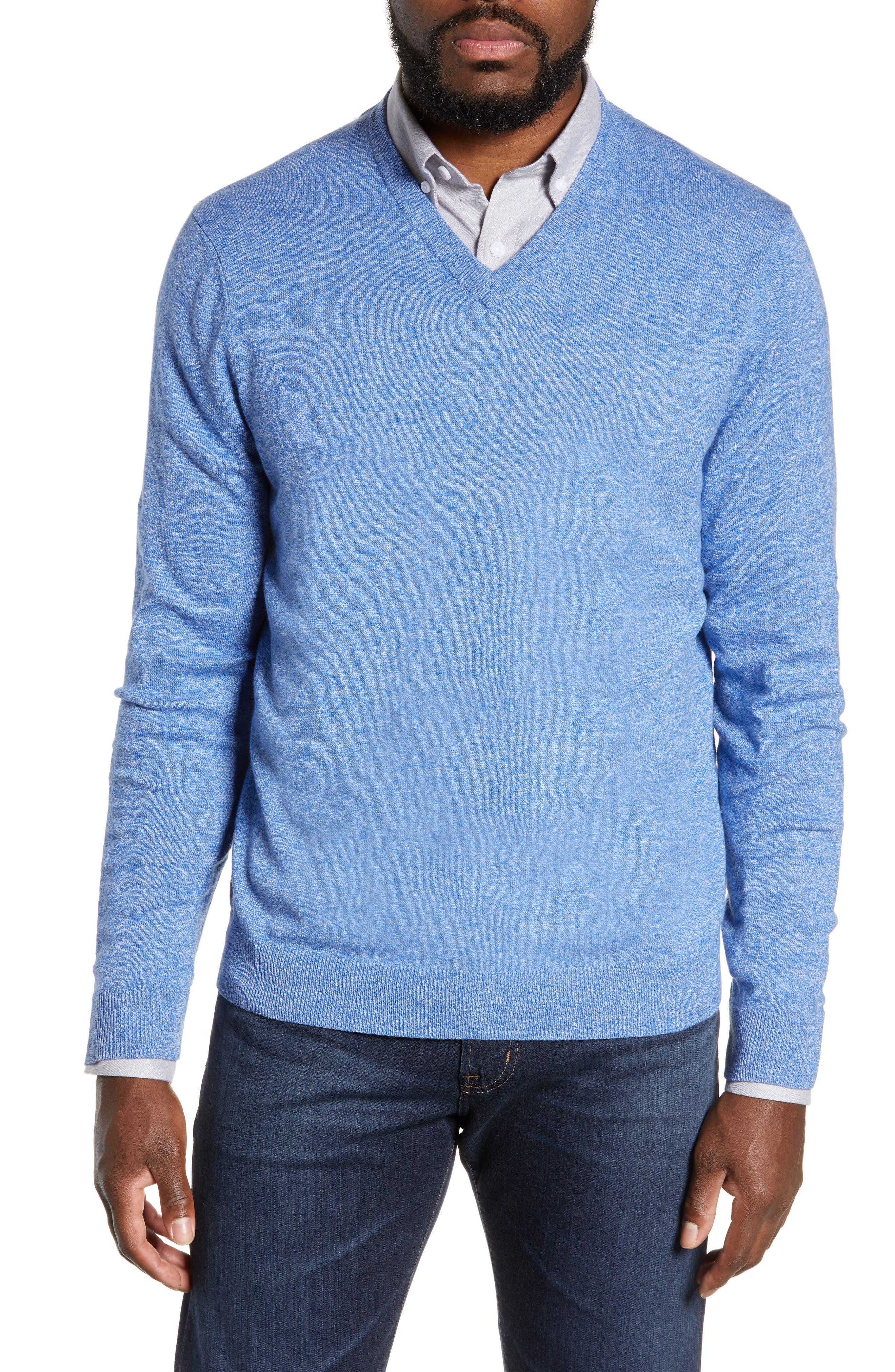 NORDSTROM MEN'S SHOP Cotton & Cashmere V-Neck Sweater, Main, color, BLUE CAMP MARL