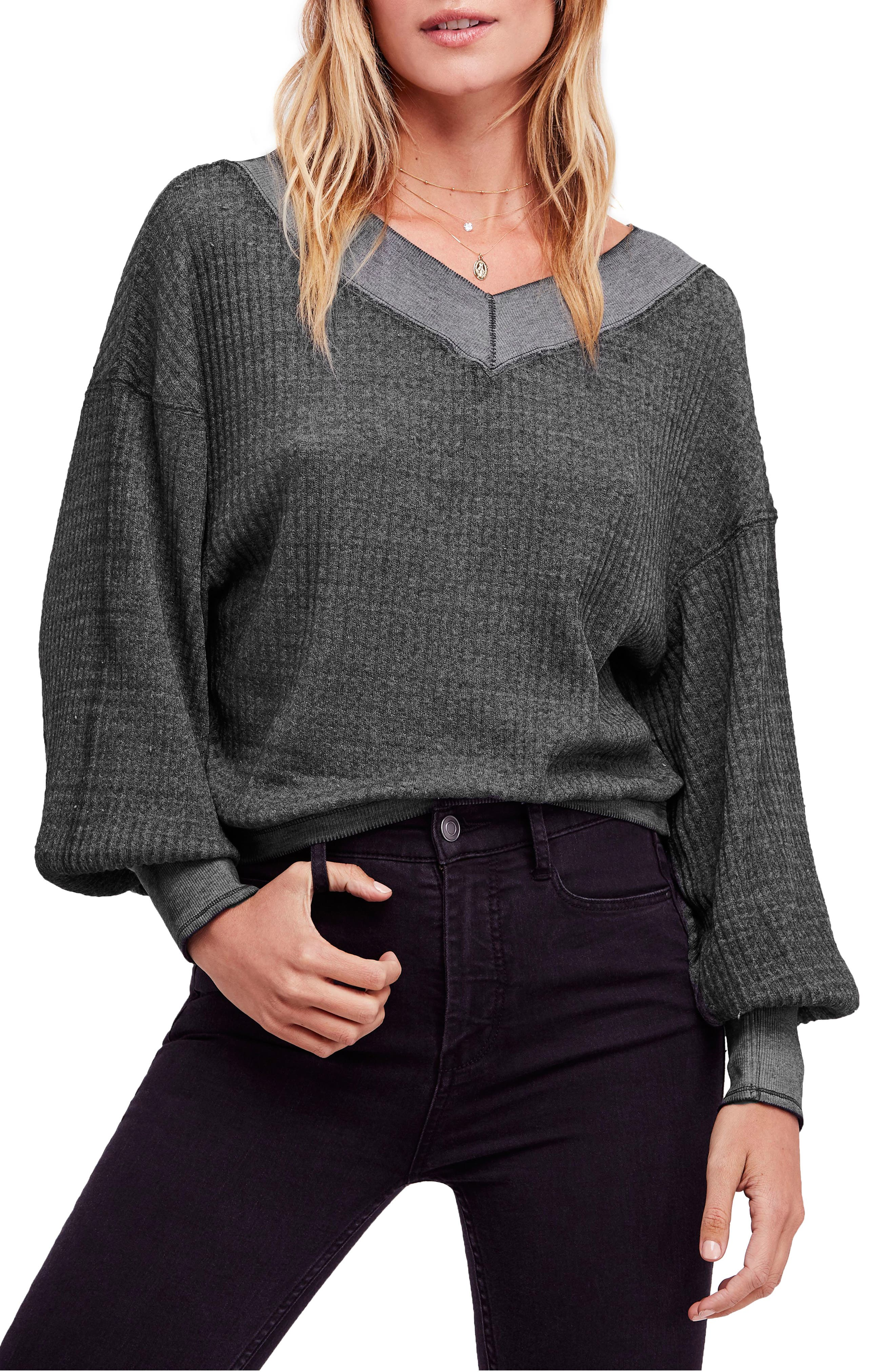 FREE PEOPLE, We the Free by Free People South Side Thermal Top, Main thumbnail 1, color, BLACK