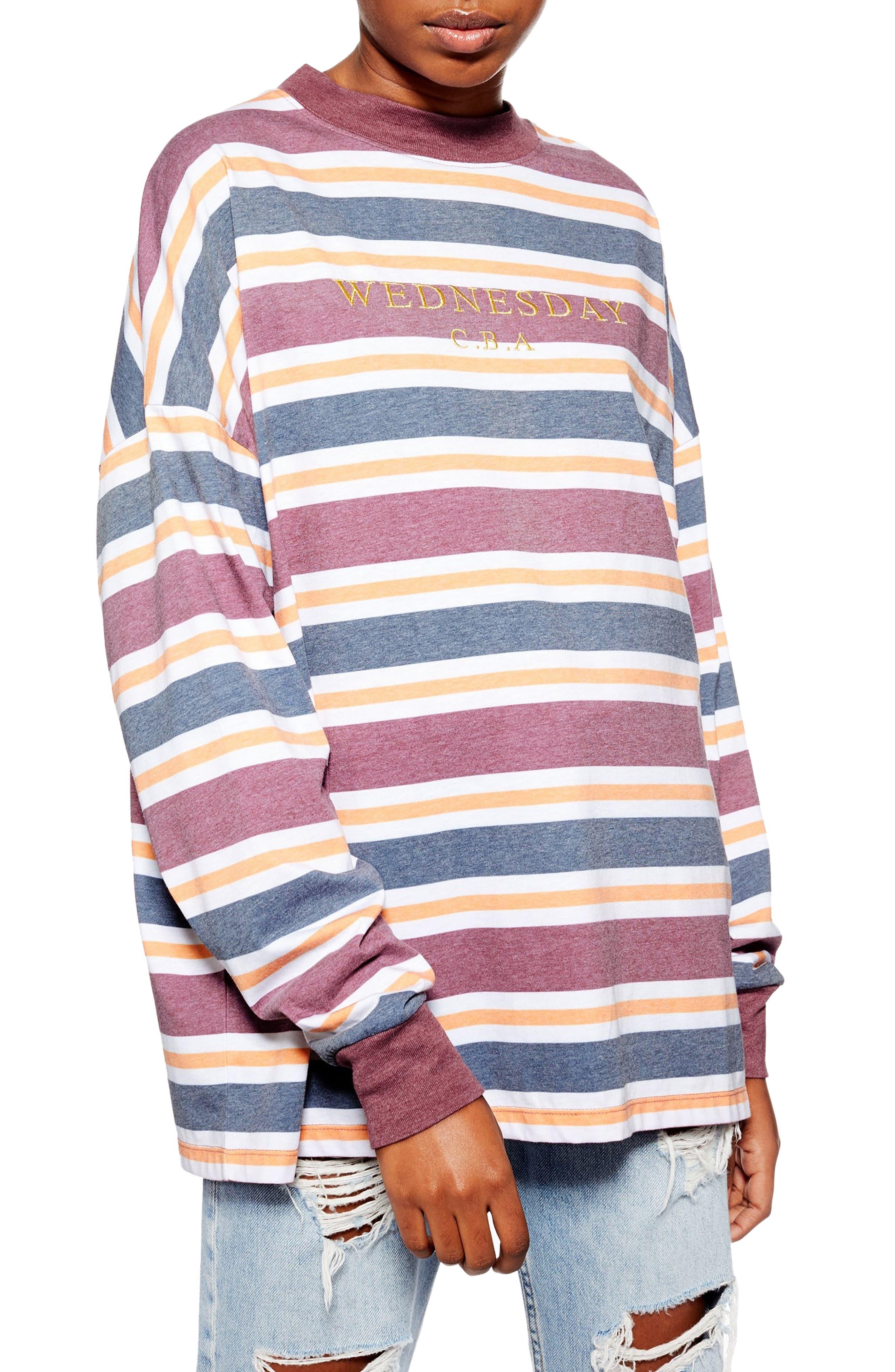 TOPSHOP Wednesday CBA Stripe Tee, Main, color, BURGUNDY MULTI