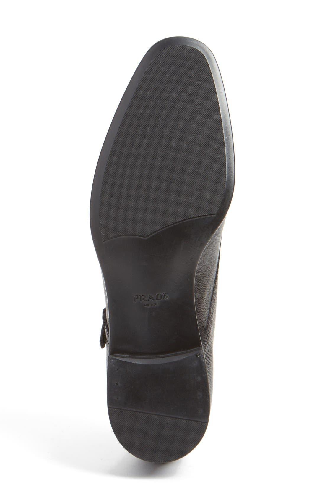PRADA, Double Monk Strap Shoe, Alternate thumbnail 4, color, NERO LEATHER