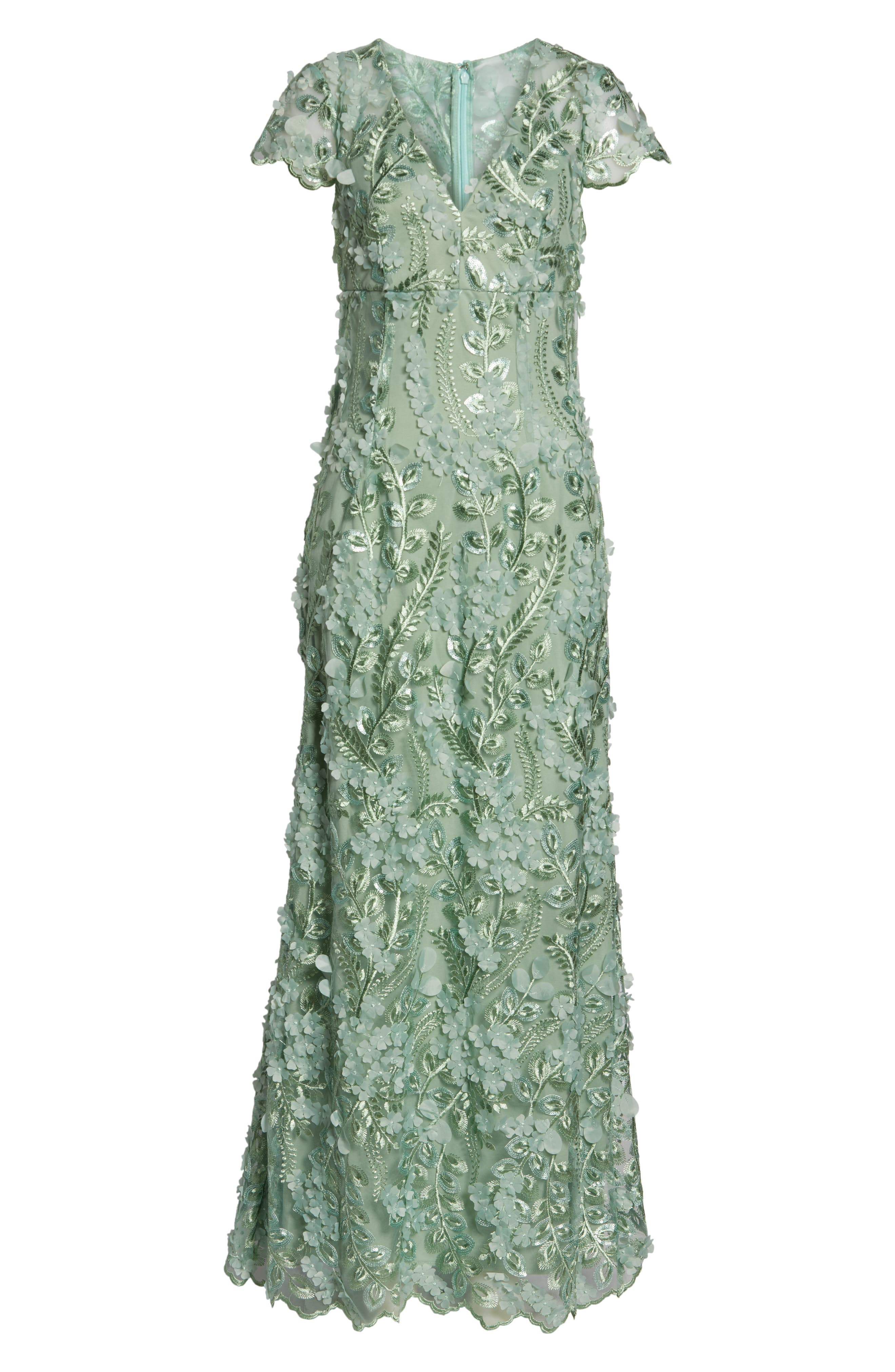 CARMEN MARC VALVO INFUSION, Petals Embellished Gown, Alternate thumbnail 6, color, CELADON