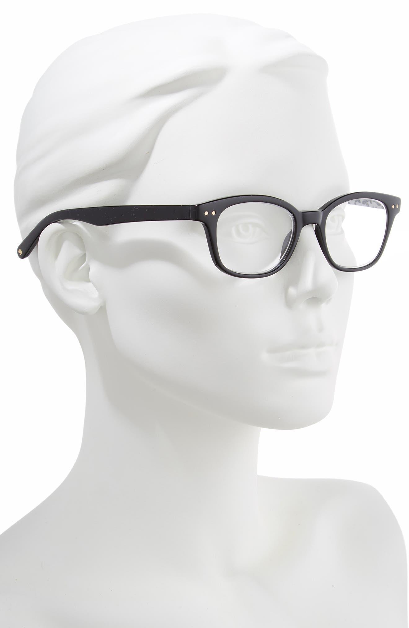 KATE SPADE NEW YORK, rebecca 47mm reading glasses, Alternate thumbnail 2, color, BLACK