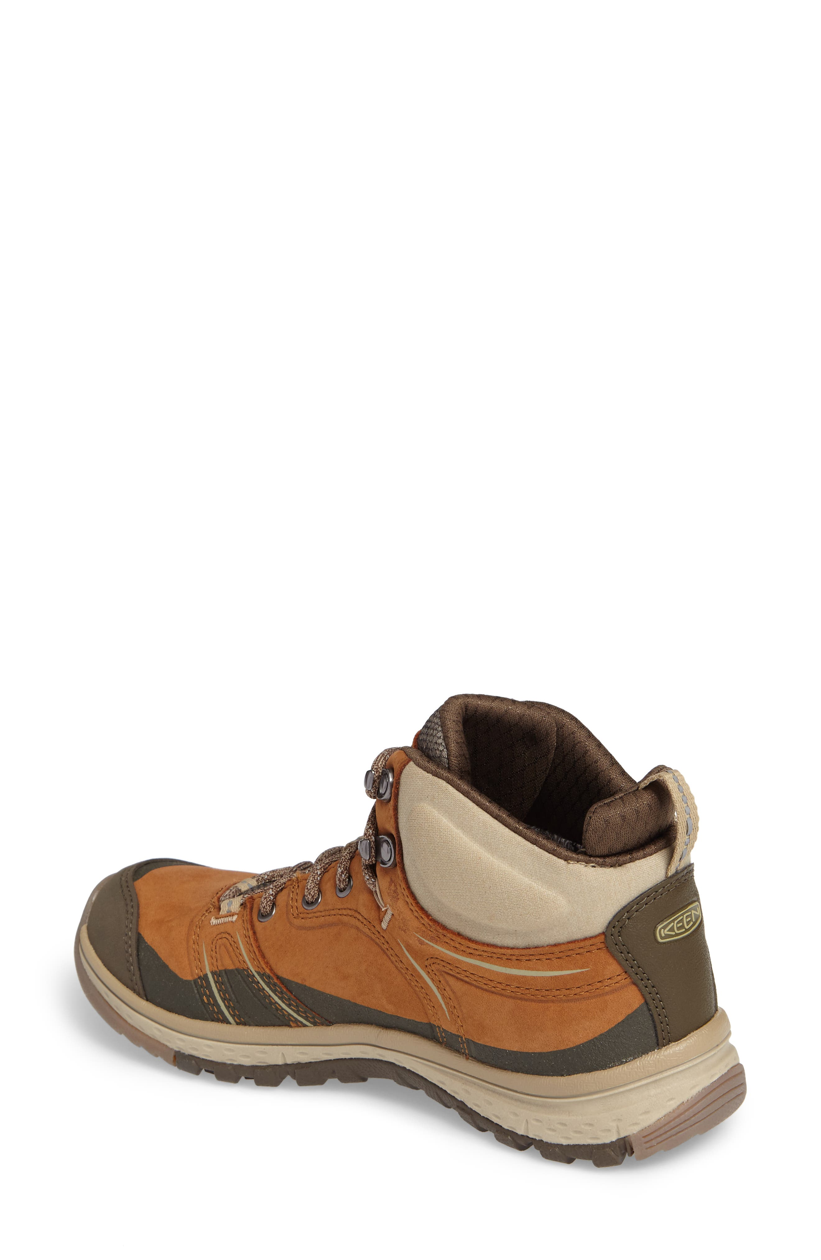 KEEN, Terradora Leather Waterproof Hiking Boot, Alternate thumbnail 2, color, TIMBER/ ORANGE NUBUCK