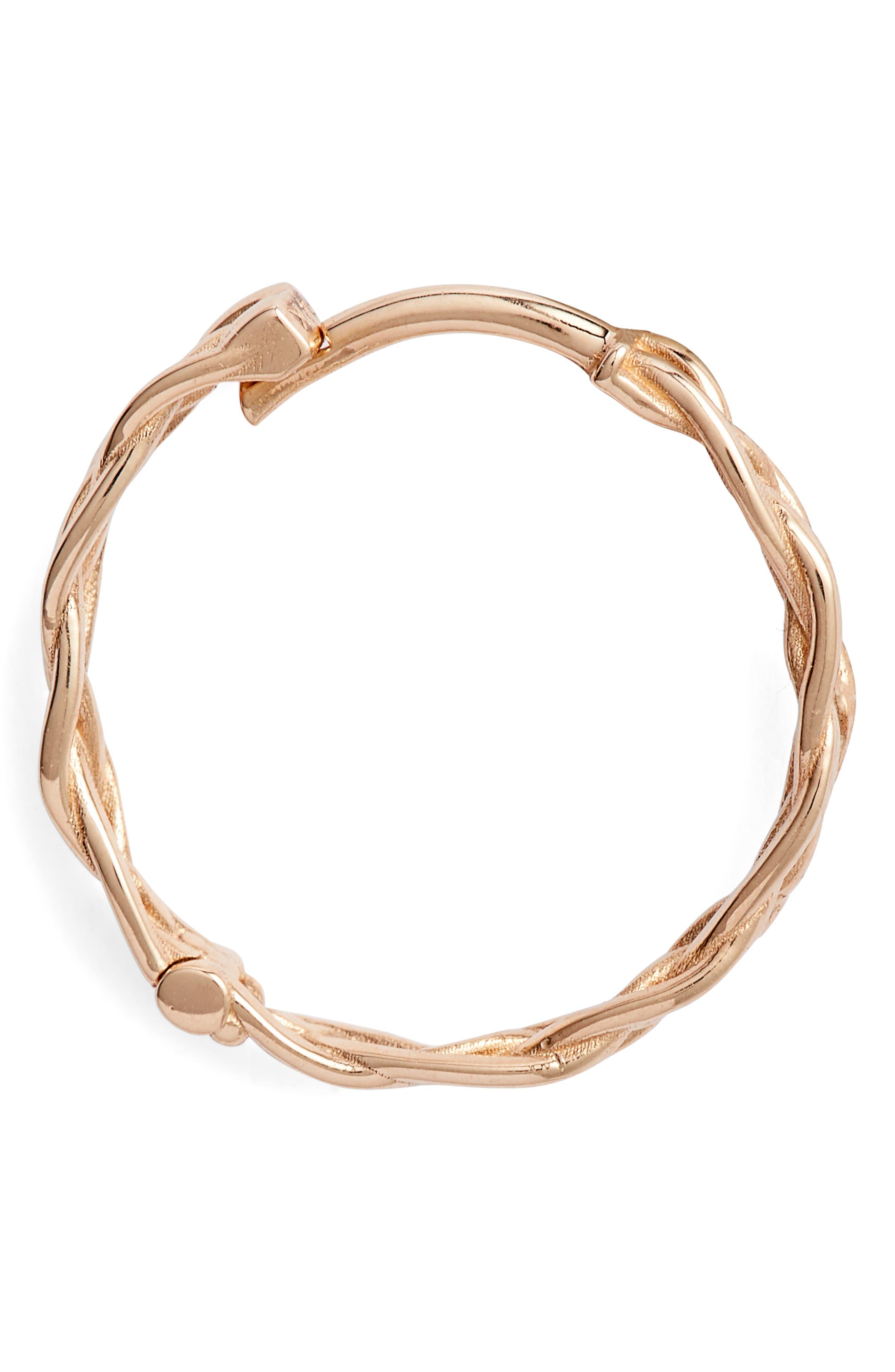 KISMET BY MILKA, Large Braided Hoop Earrings, Alternate thumbnail 4, color, ROSE GOLD