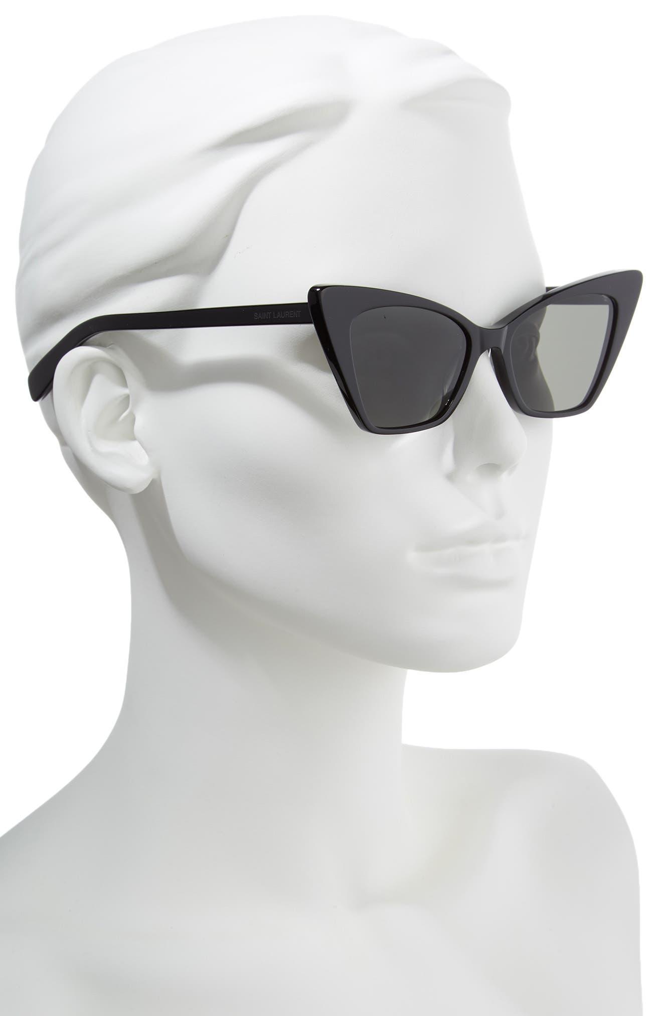 SAINT LAURENT, 51mm Cat Eye Sunglasses, Alternate thumbnail 2, color, BLACK