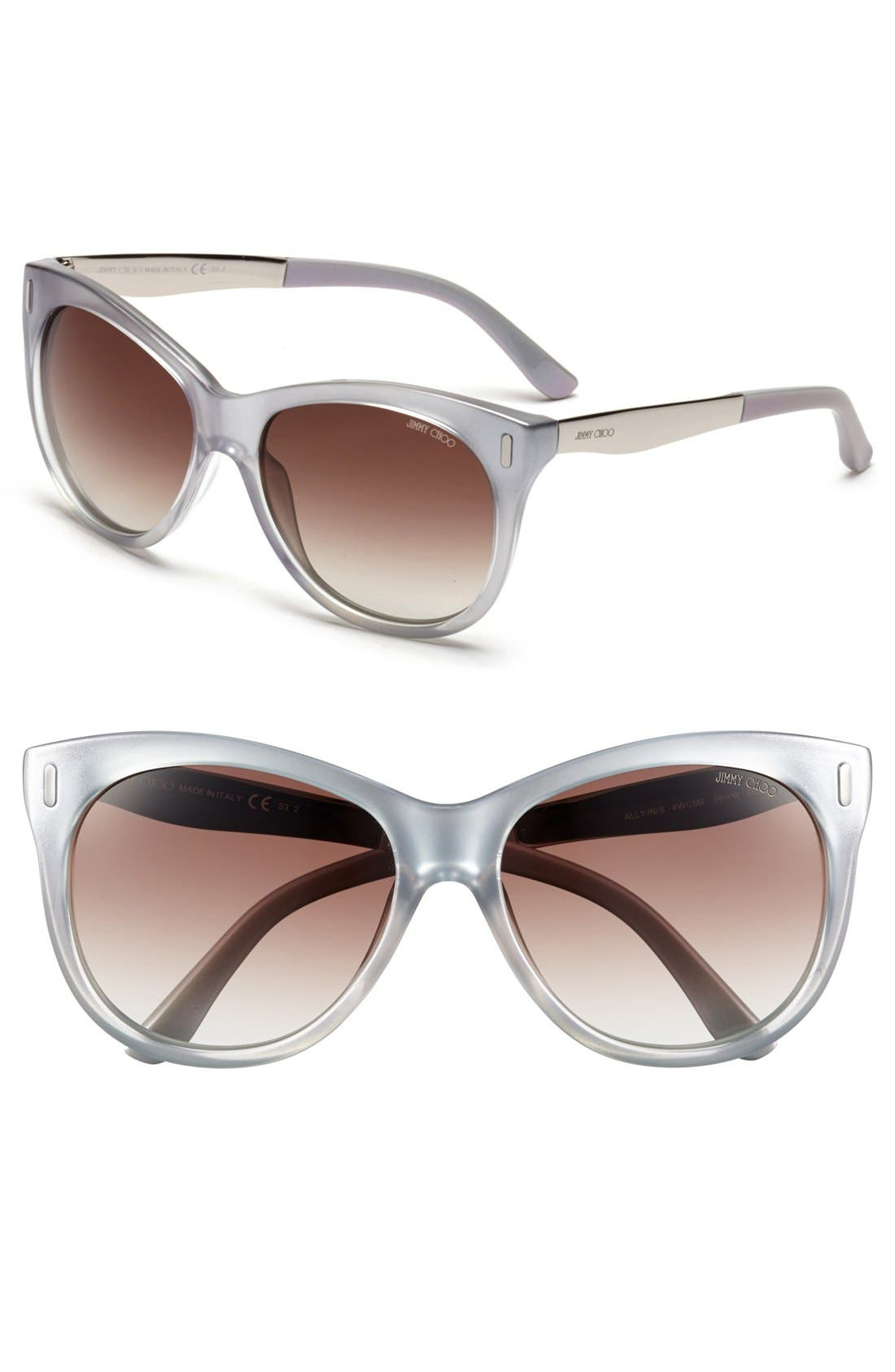 JIMMY CHOO, 56mm Retro Sunglasses, Main thumbnail 1, color, 040