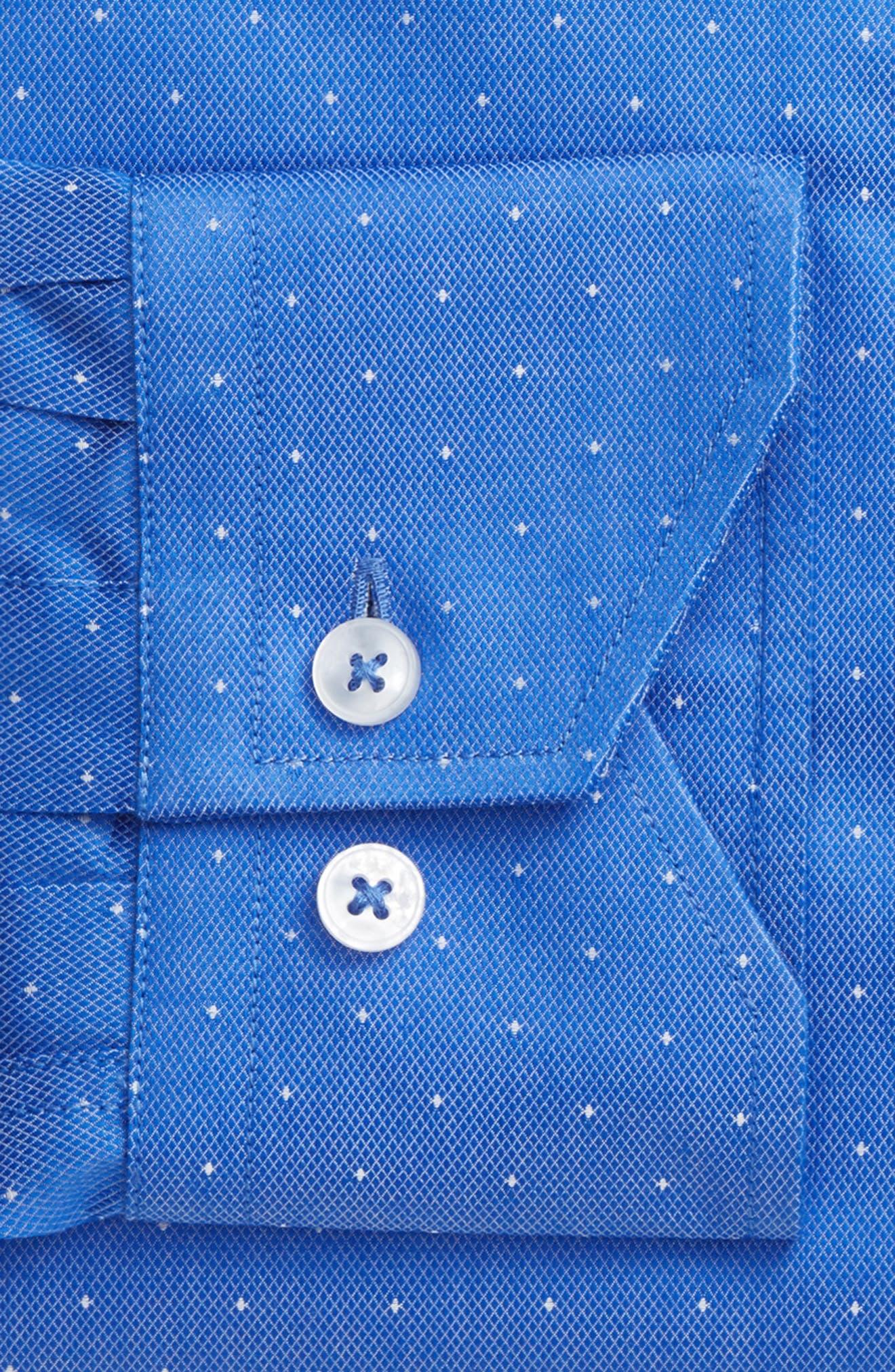 LORENZO UOMO, Trim Fit Dot Dress Shirt, Alternate thumbnail 4, color, ROYAL