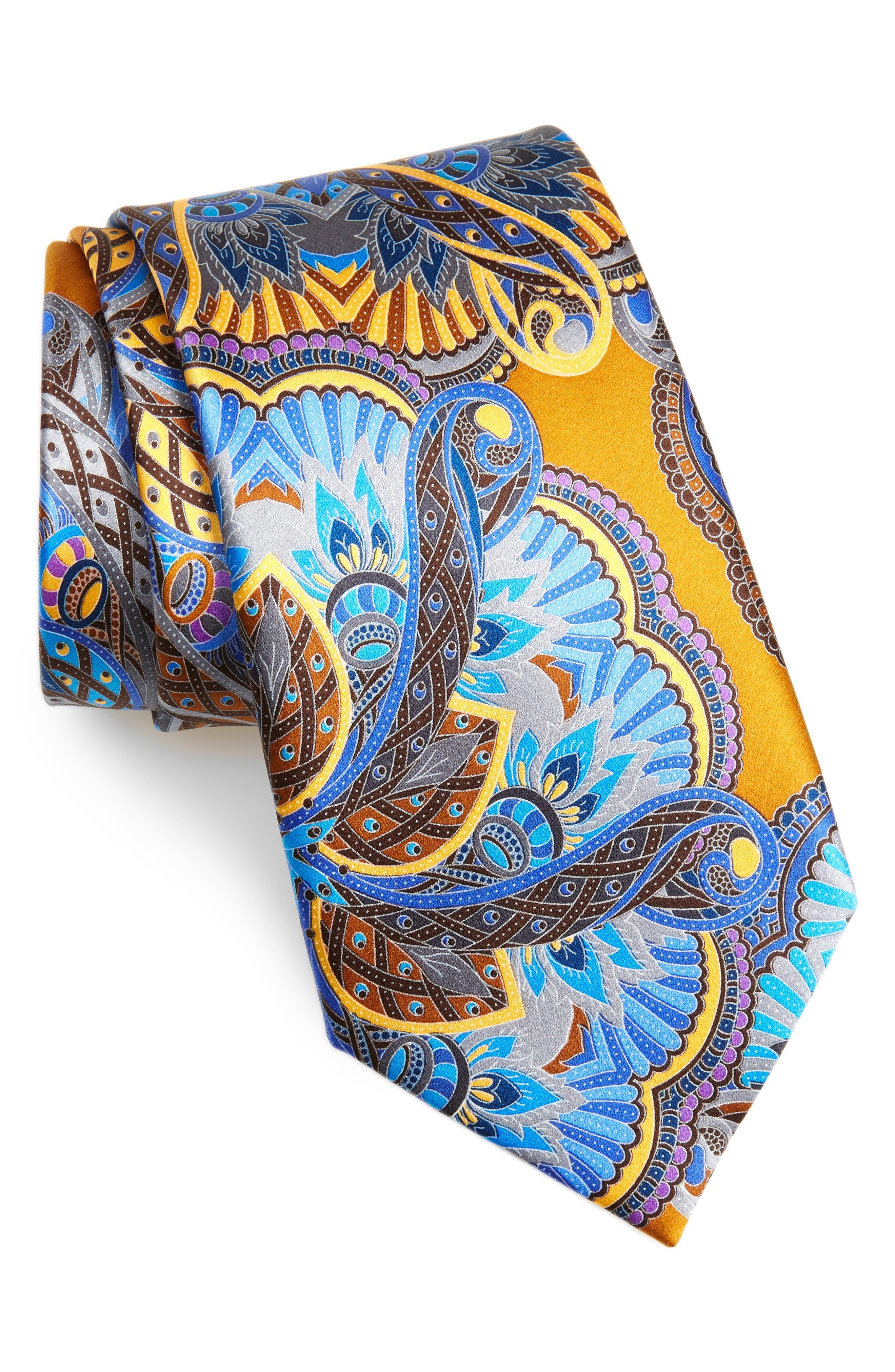 ERMENEGILDO ZEGNA, Quindici Silk Tie, Main thumbnail 1, color, NAVY