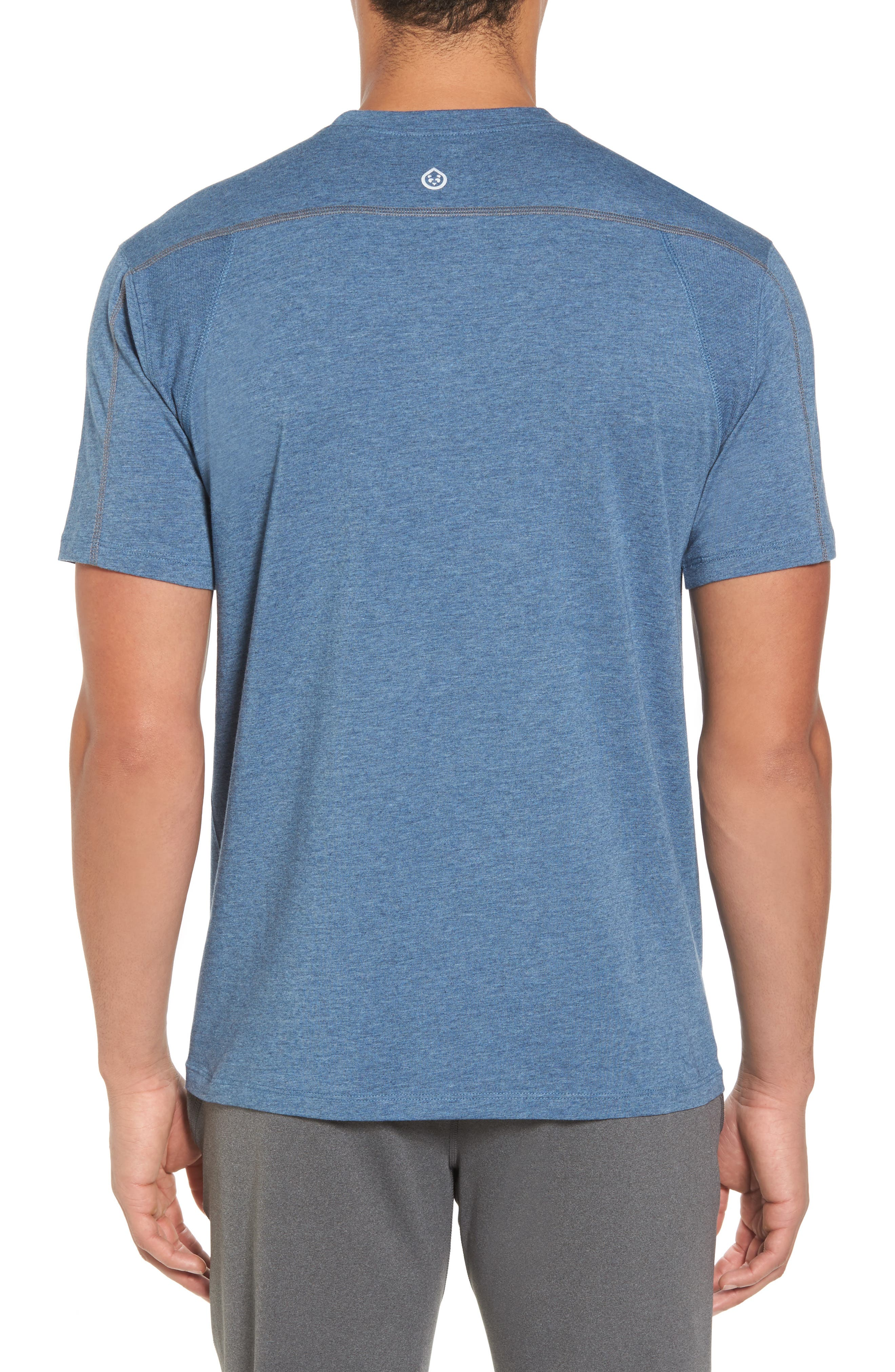 TASC PERFORMANCE, Charge Semi-Fitted T-Shirt, Alternate thumbnail 2, color, INDIGO HEATHER