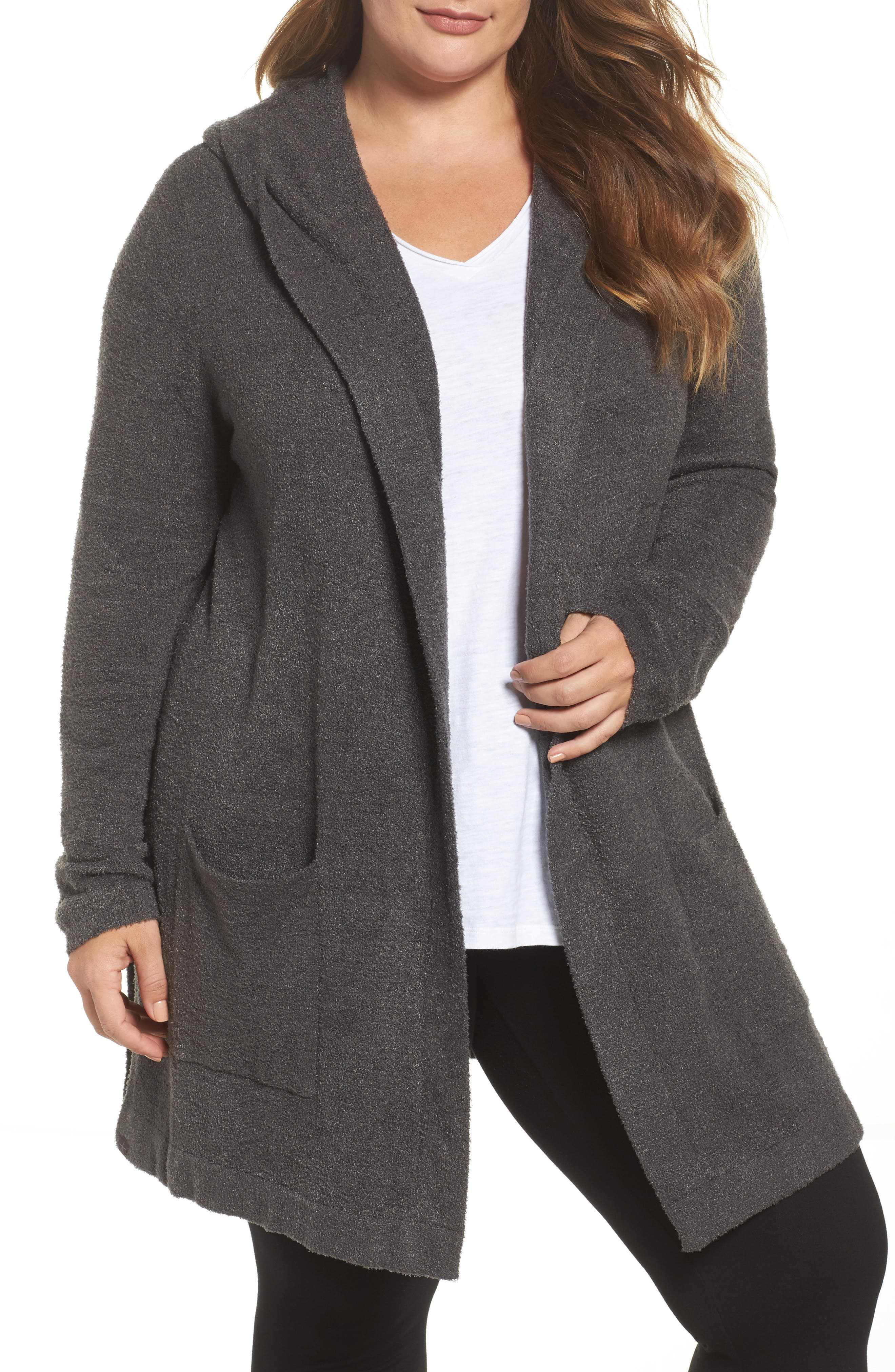 BAREFOOT DREAMS<SUP>®</SUP>, Cozychic Lite<sup>®</sup> Coastal Hooded Cardigan, Main thumbnail 1, color, CARBON