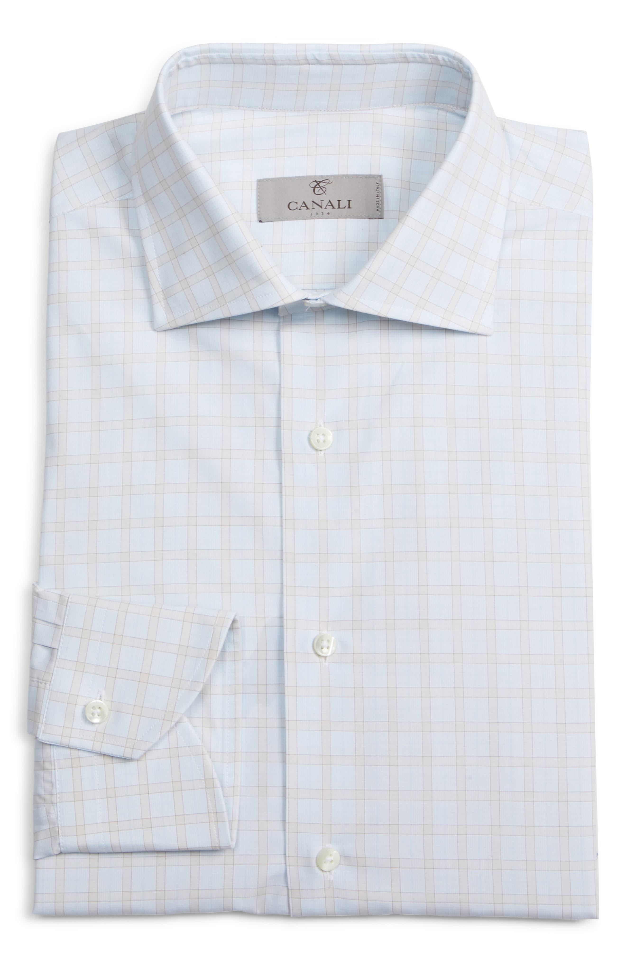 CANALI, Regular Fit Plaid Dress Shirt, Alternate thumbnail 5, color, BEIGE