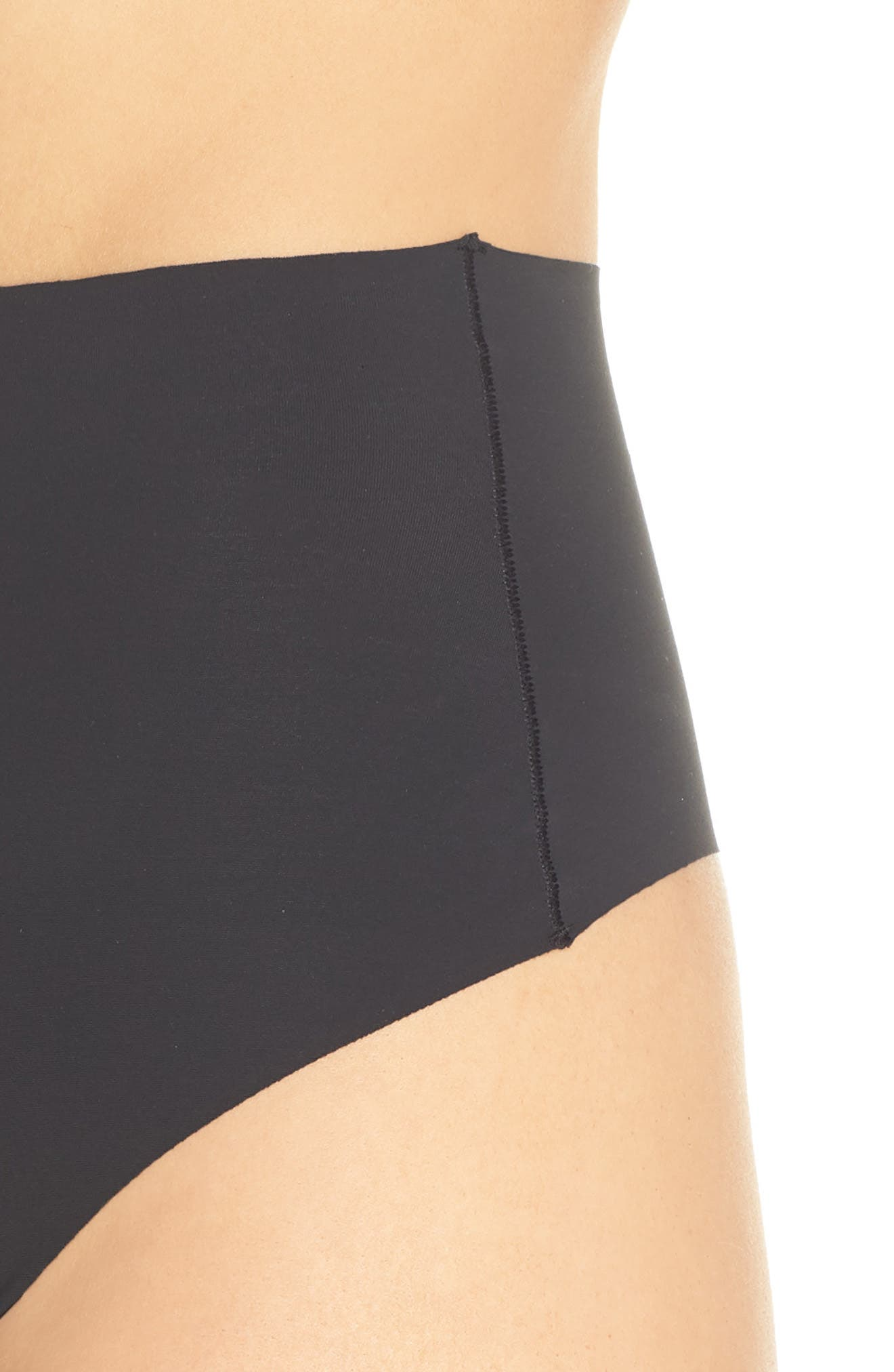 YUMMIE, Smooth Solutions Mid Waist Thong, Alternate thumbnail 4, color, BLACK
