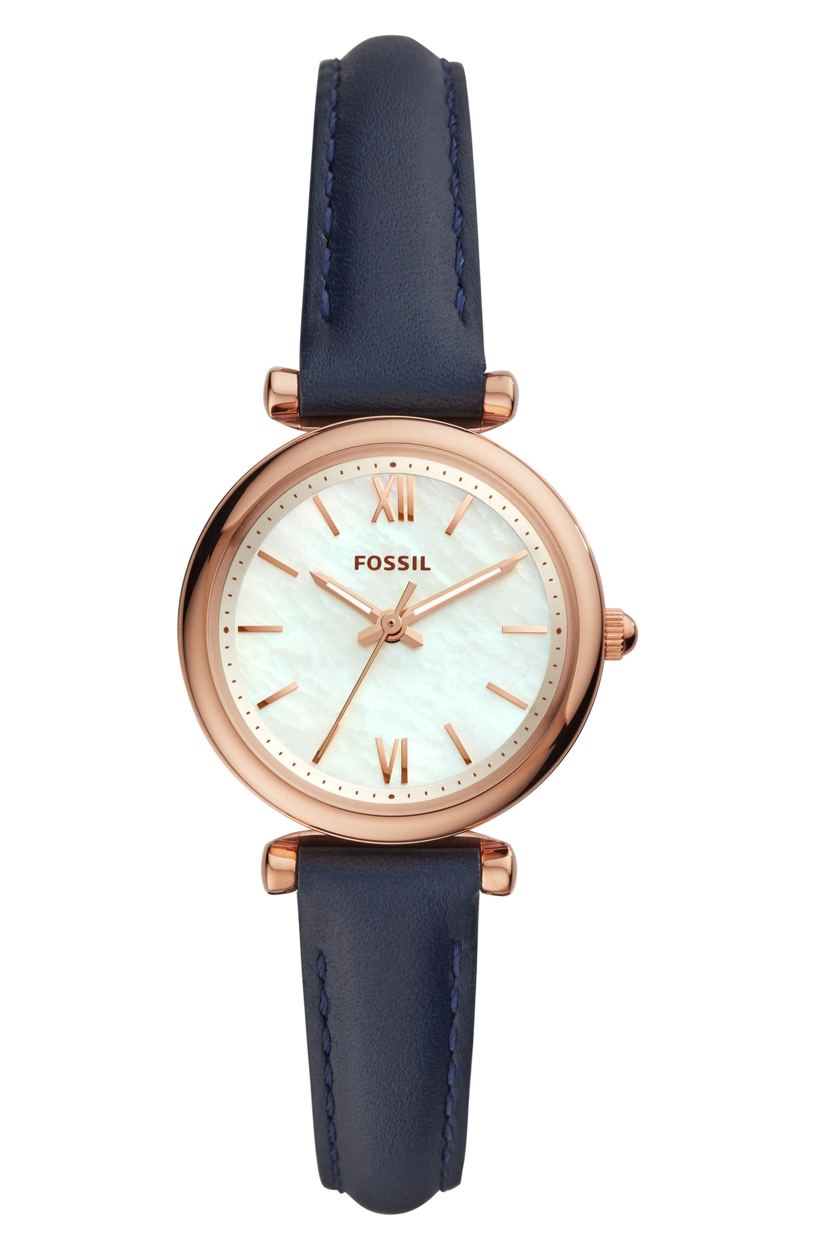 FOSSIL, Mini Carlie Star Leather Strap Watch, 28mm, Main thumbnail 1, color, NAVY/ WHITE MOP/ ROSE GOLD