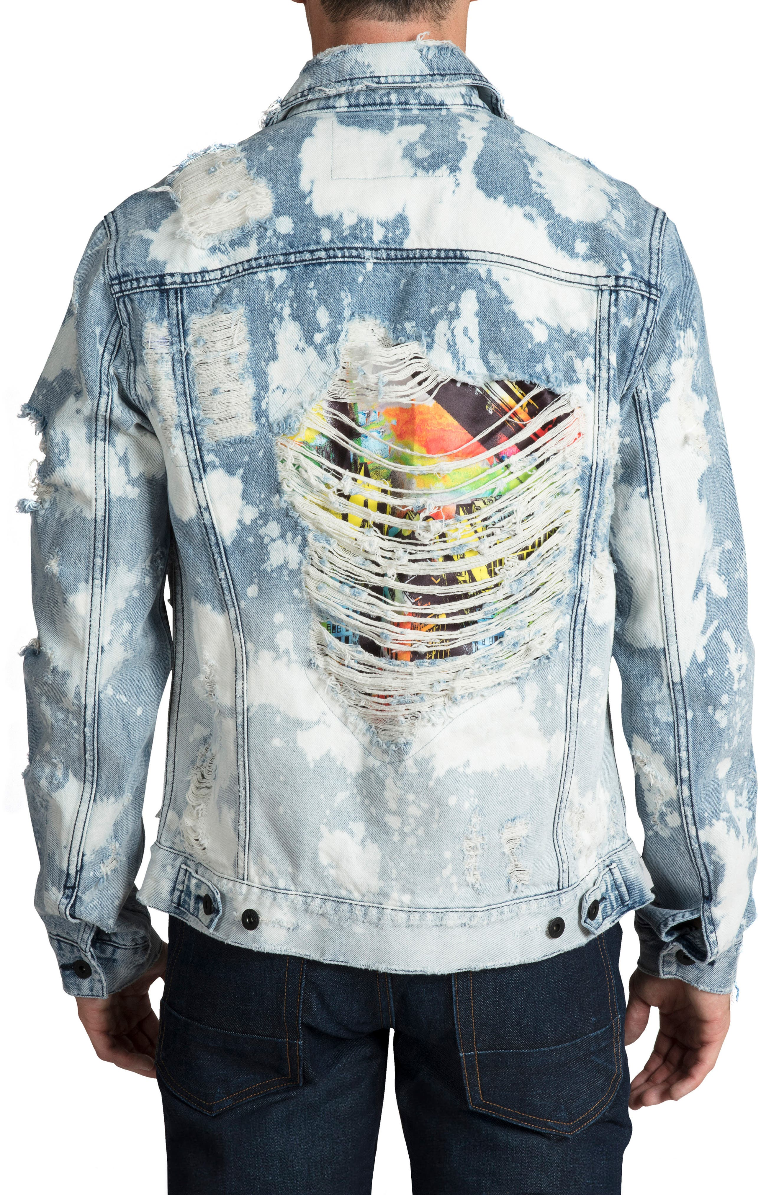 PRPS, City Scapes Ripped Denim Jacket, Alternate thumbnail 2, color, GUILTLESS