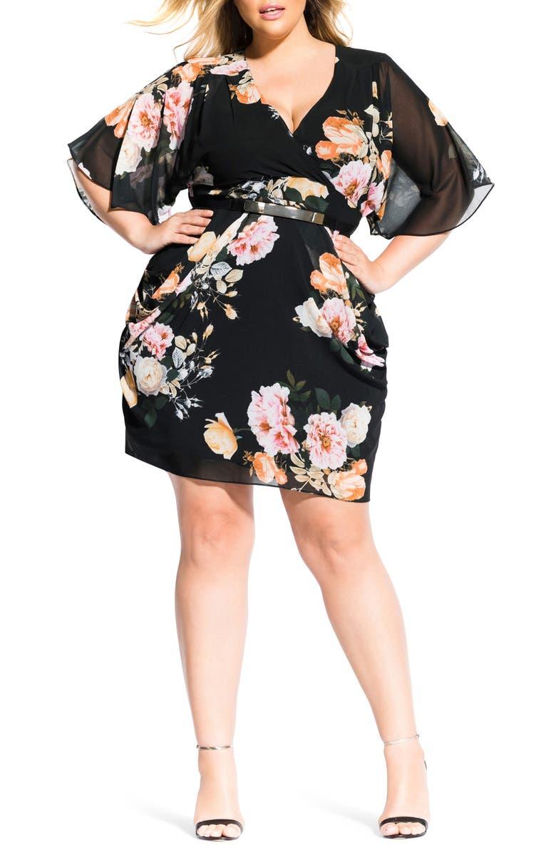 City Chic Dresses TUSCAN ROSE FAUX WRAP DRESS