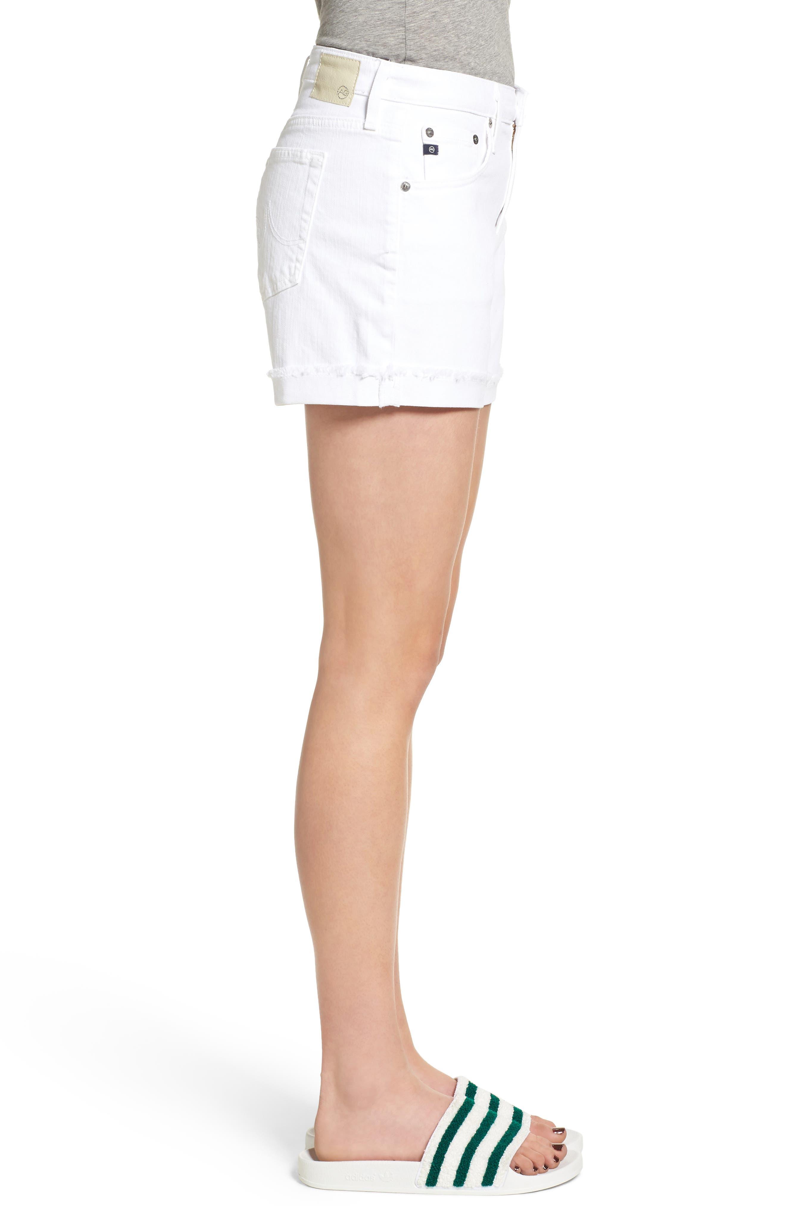 AG, 'Hailey' Boyfriend Shorts, Alternate thumbnail 4, color, WHITE