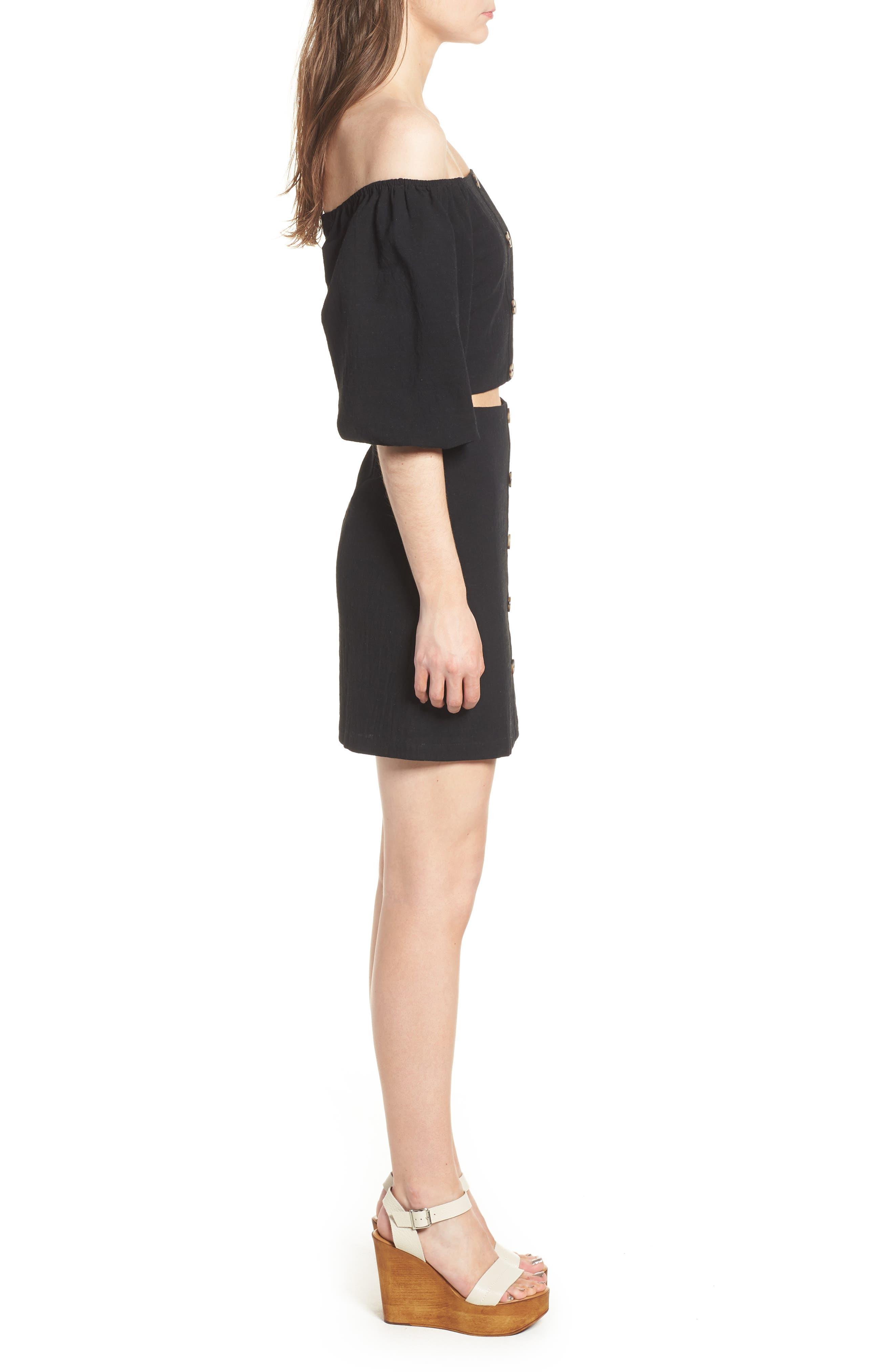 J.O.A., Button Front Miniskirt, Alternate thumbnail 9, color, 001