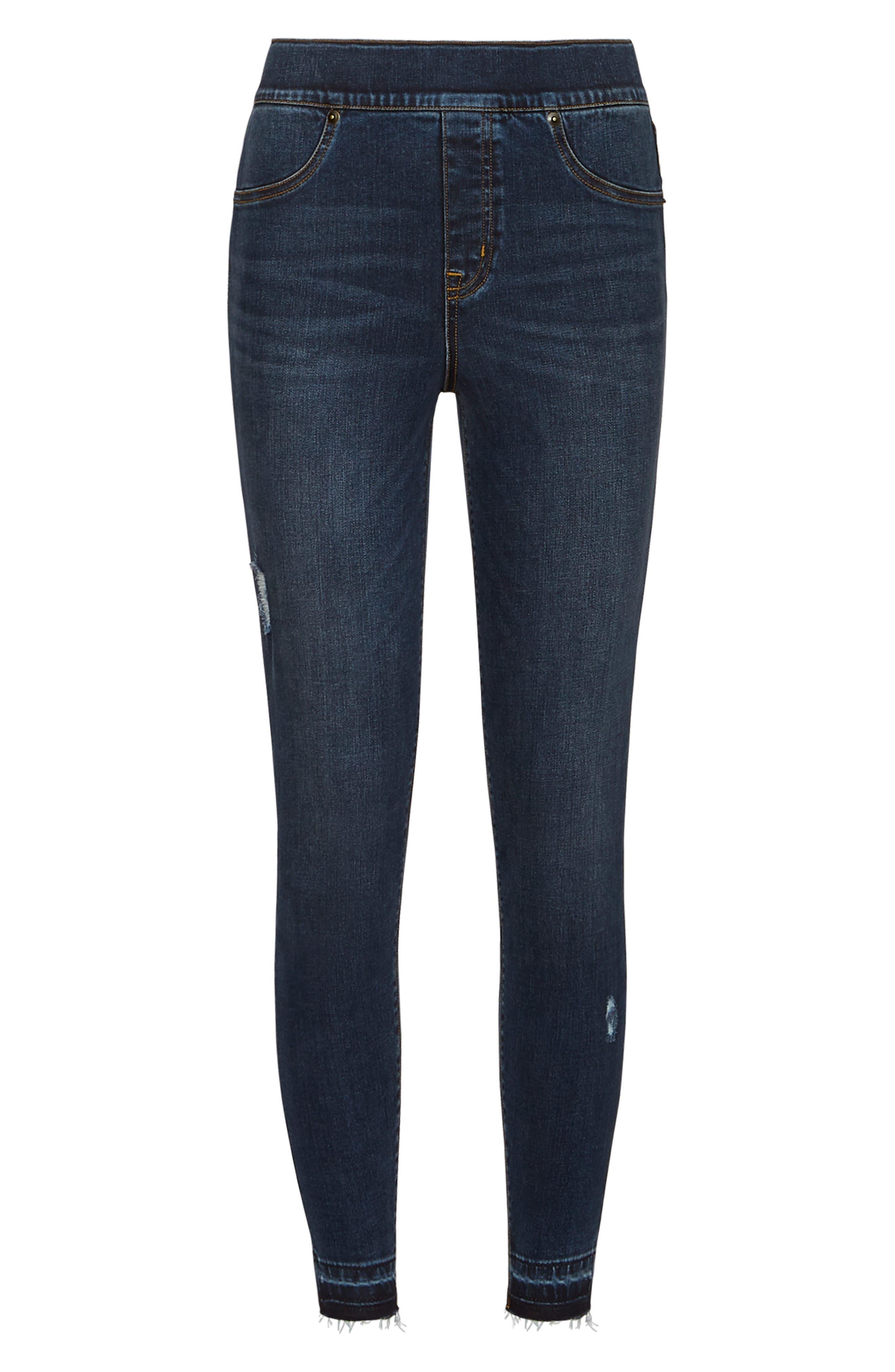 SPANX<SUP>®</SUP>, Distressed Skinny Jeans, Alternate thumbnail 7, color, MEDIUM WASH
