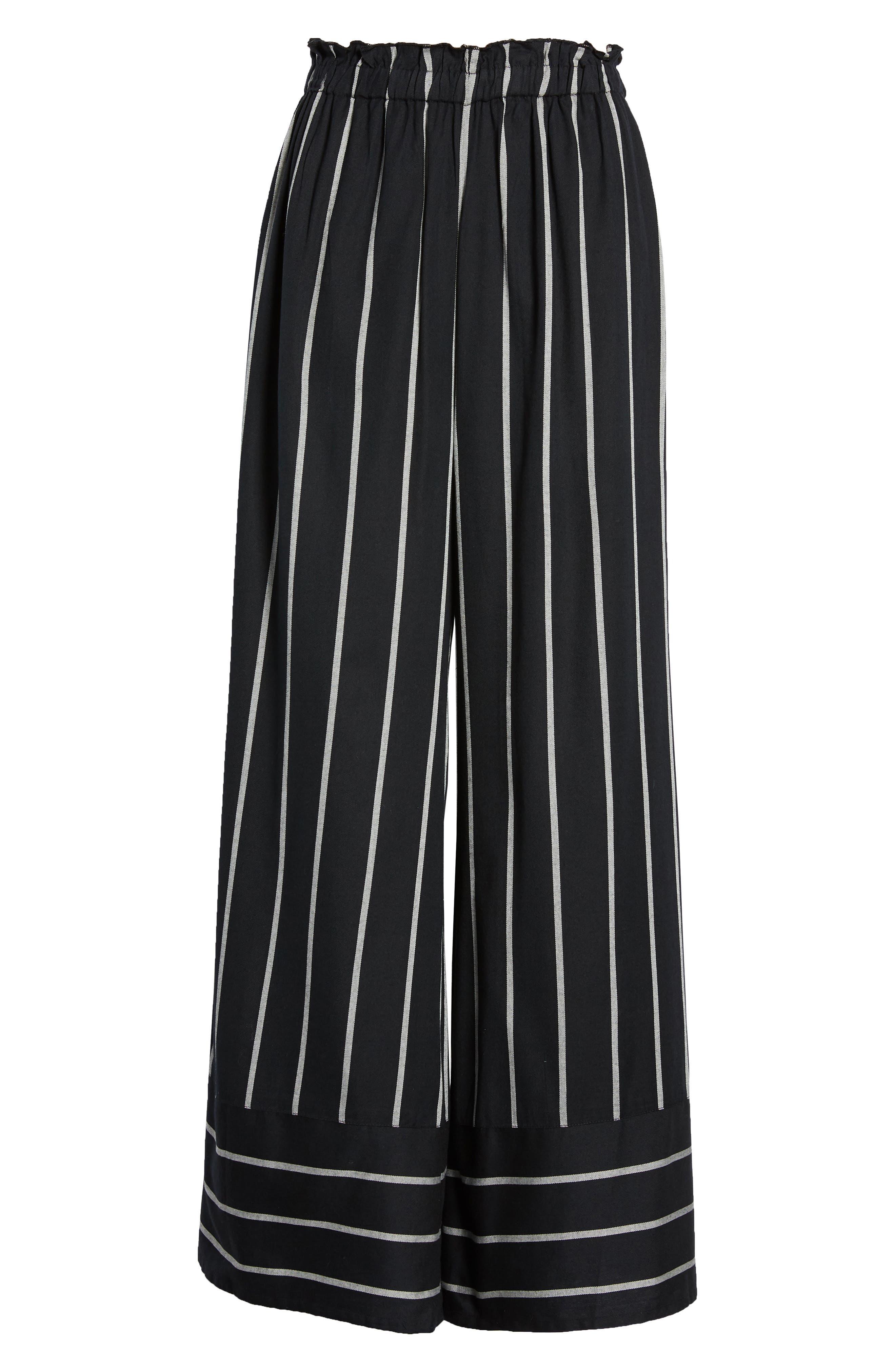 BILLABONG, Flip Out Stripe Wide Leg Pants, Alternate thumbnail 5, color, BLACK