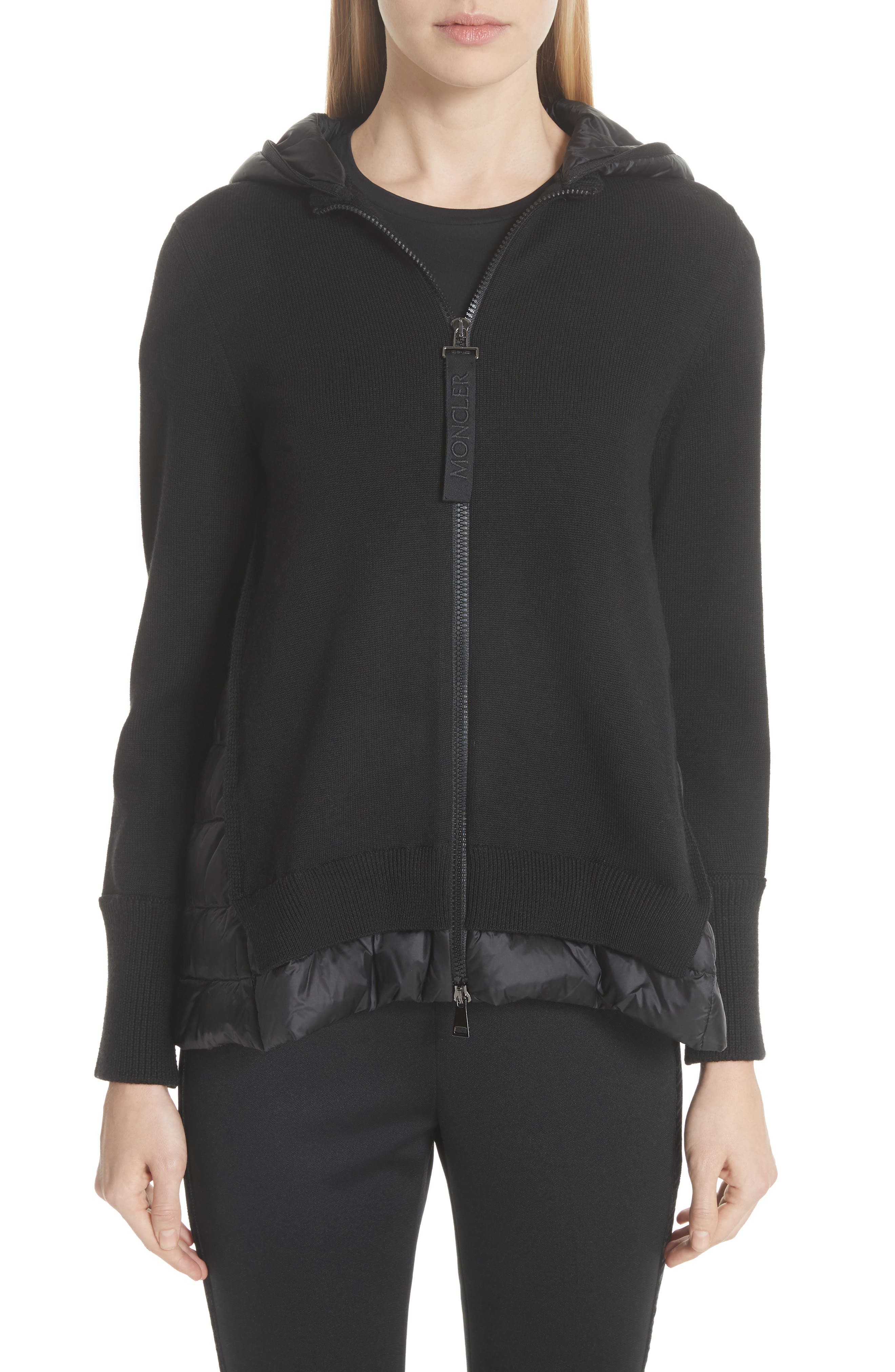 MONCLER, Hooded Quilted Cardigan, Main thumbnail 1, color, BLACK