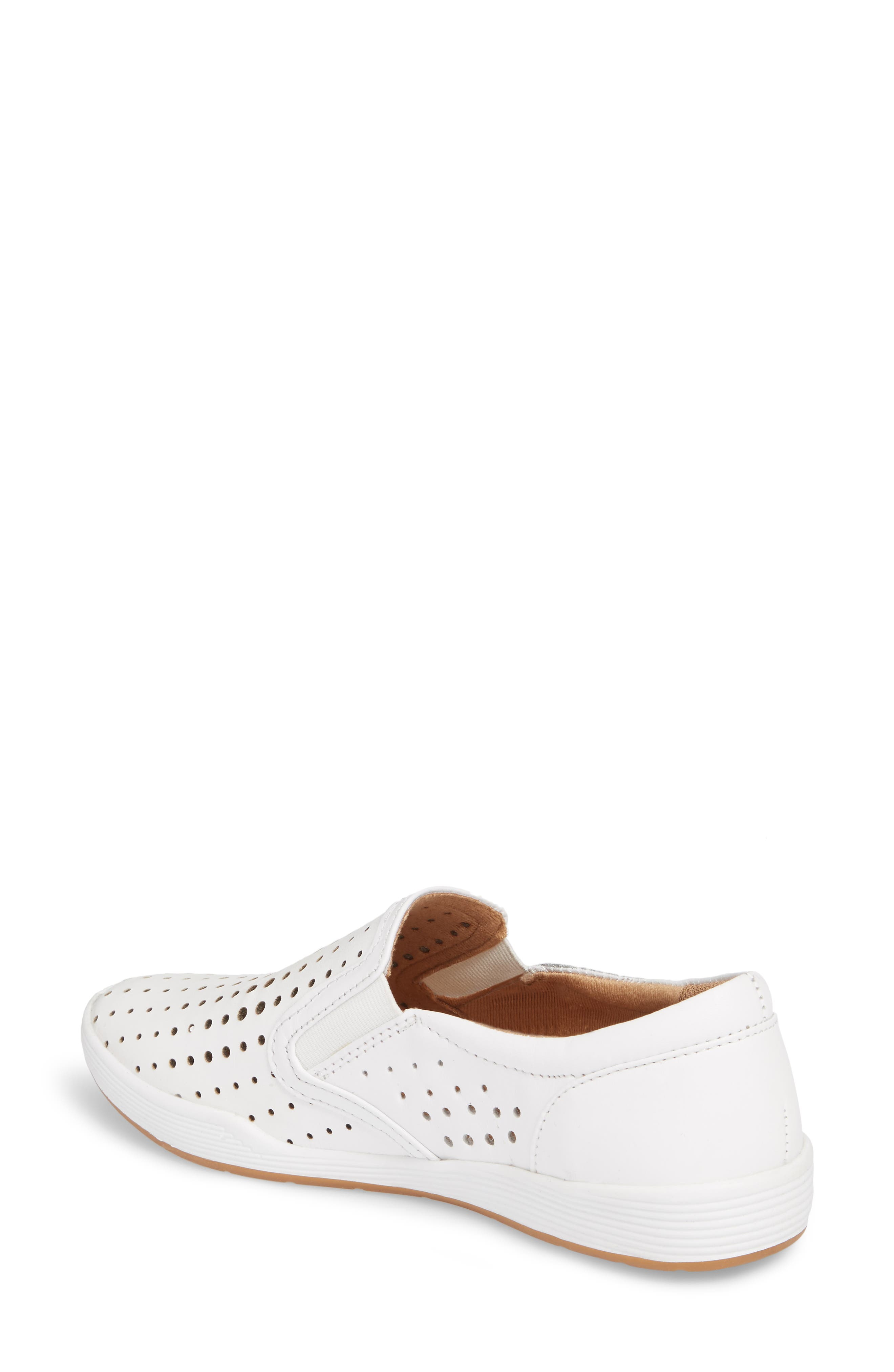 COMFORTIVA, Lyra Perforated Slip-On Sneaker, Alternate thumbnail 2, color, WHITE LEATHER