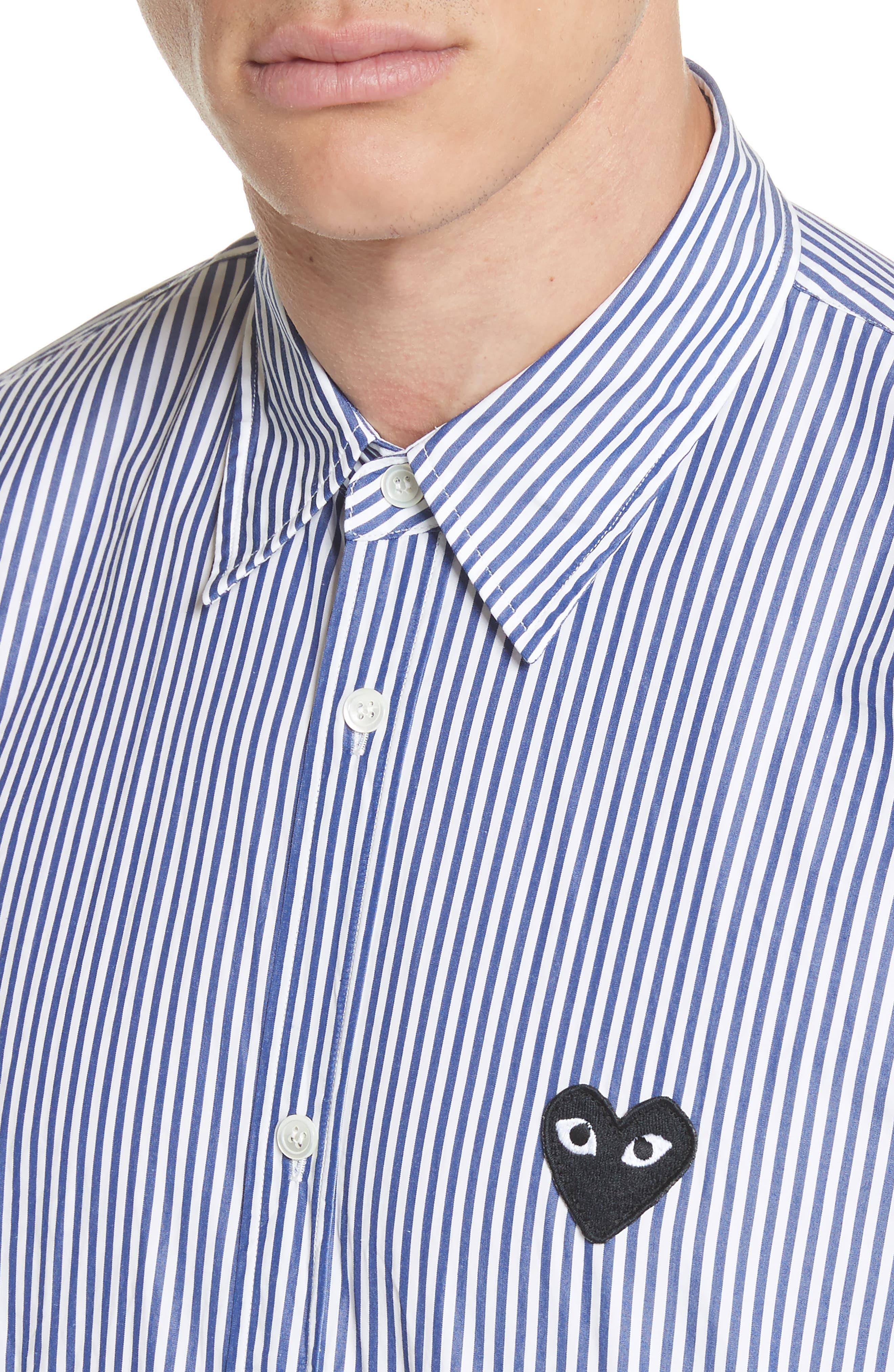 COMME DES GARÇONS PLAY, Stripe Woven Shirt, Alternate thumbnail 4, color, BLUE