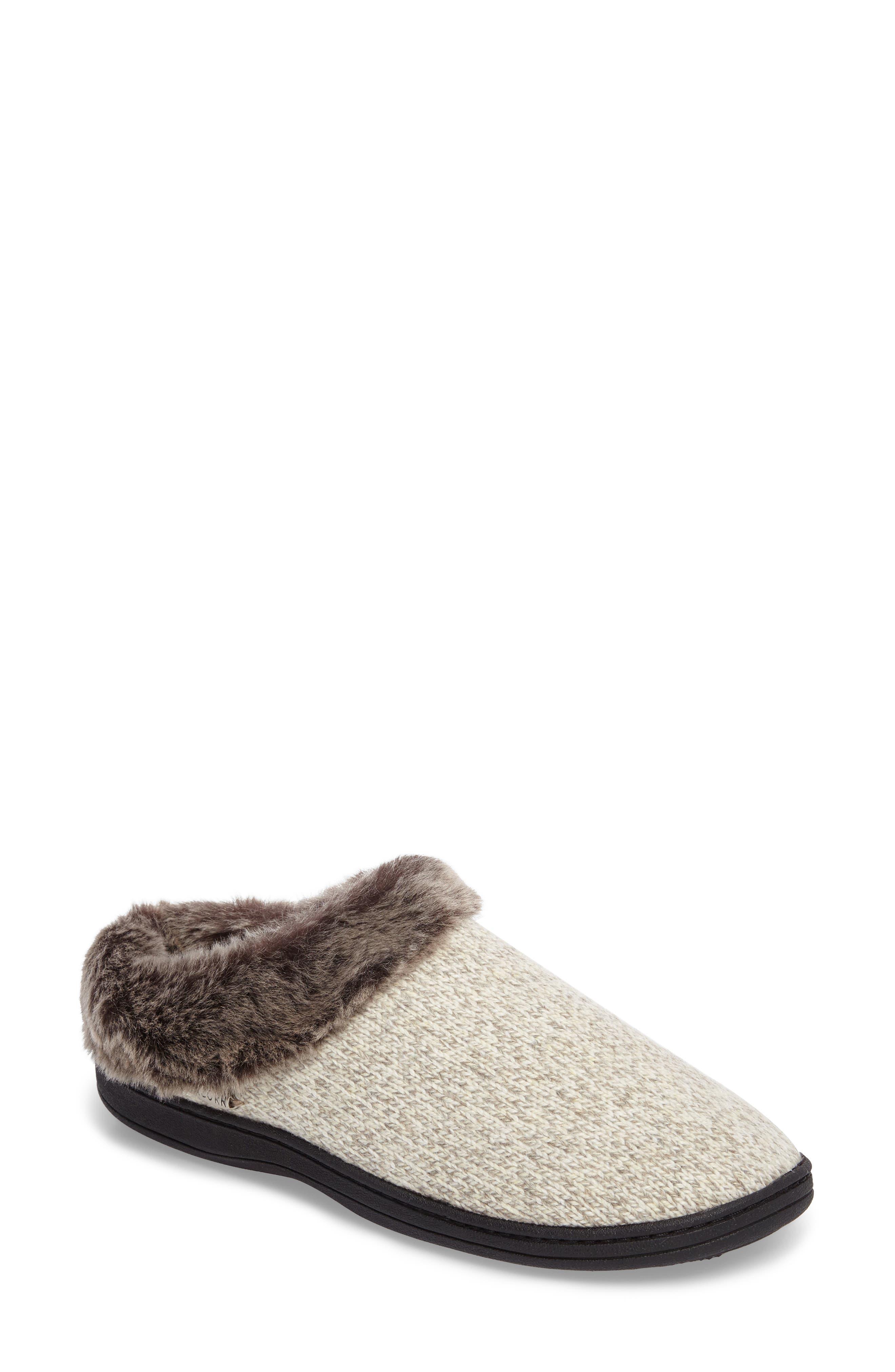 ACORN, Chinchilla Faux Fur Slipper, Main thumbnail 1, color, CHARCOAL HEATHER