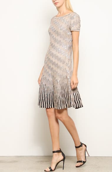 Inlaid Sequin Trellis Fit & Flare Dress, video thumbnail