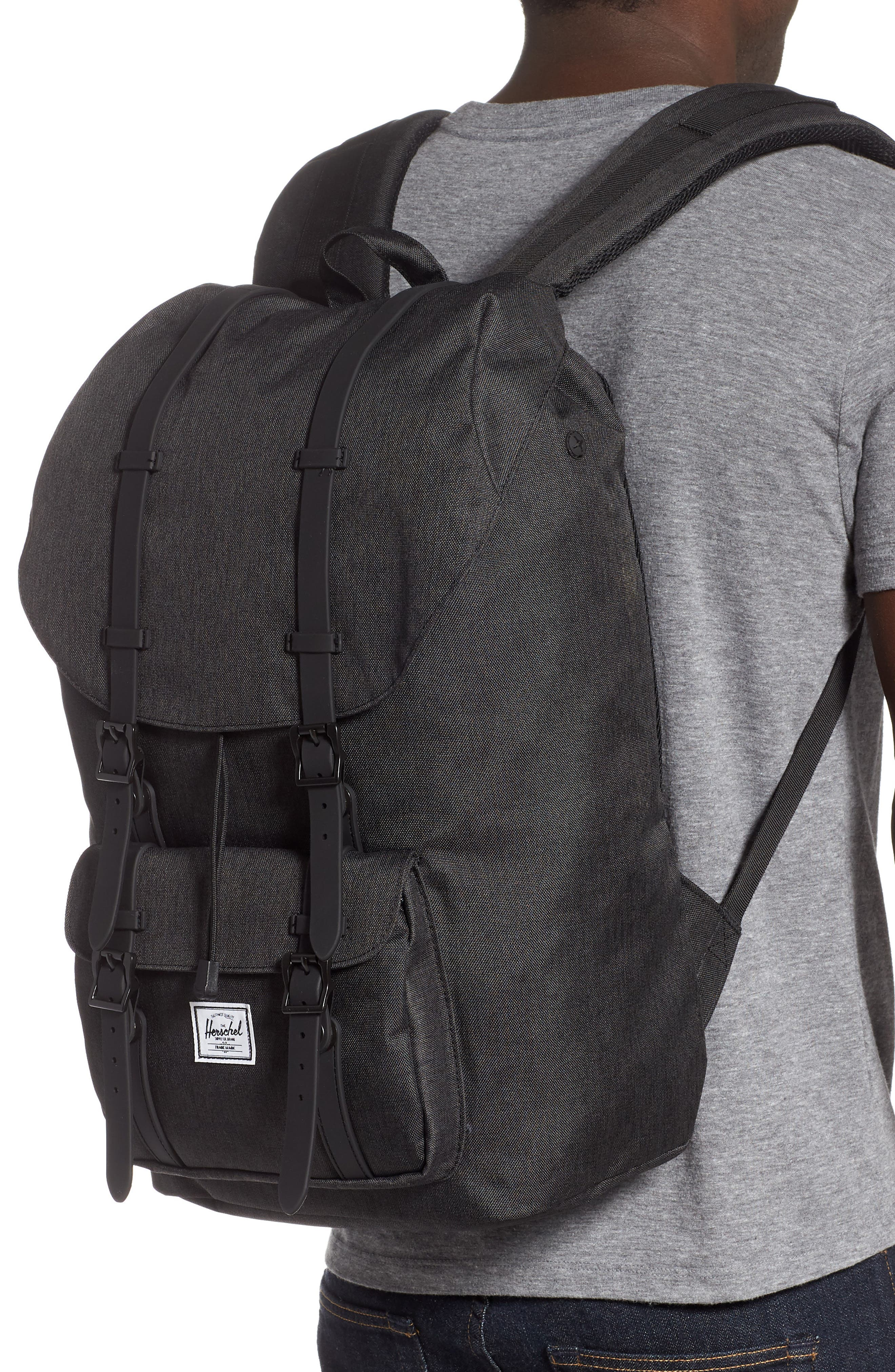 HERSCHEL SUPPLY CO., Little America Backpack, Alternate thumbnail 2, color, BLACK CROSSHATCH/ BLACK RUBBER