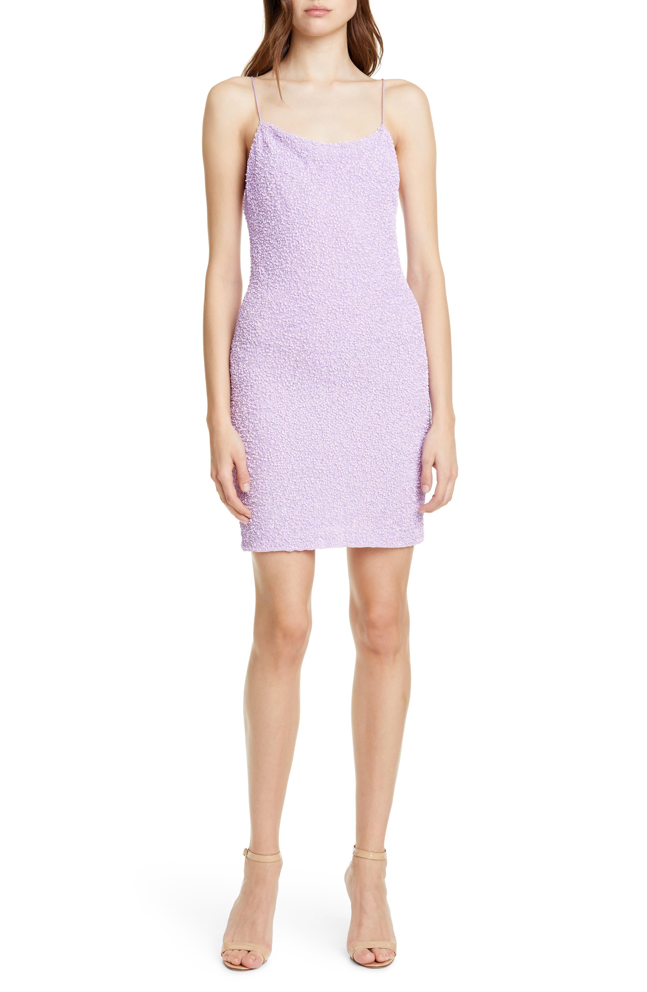 Alice + Olivia Harmie Cowl Neck Sequin Minidress, Purple