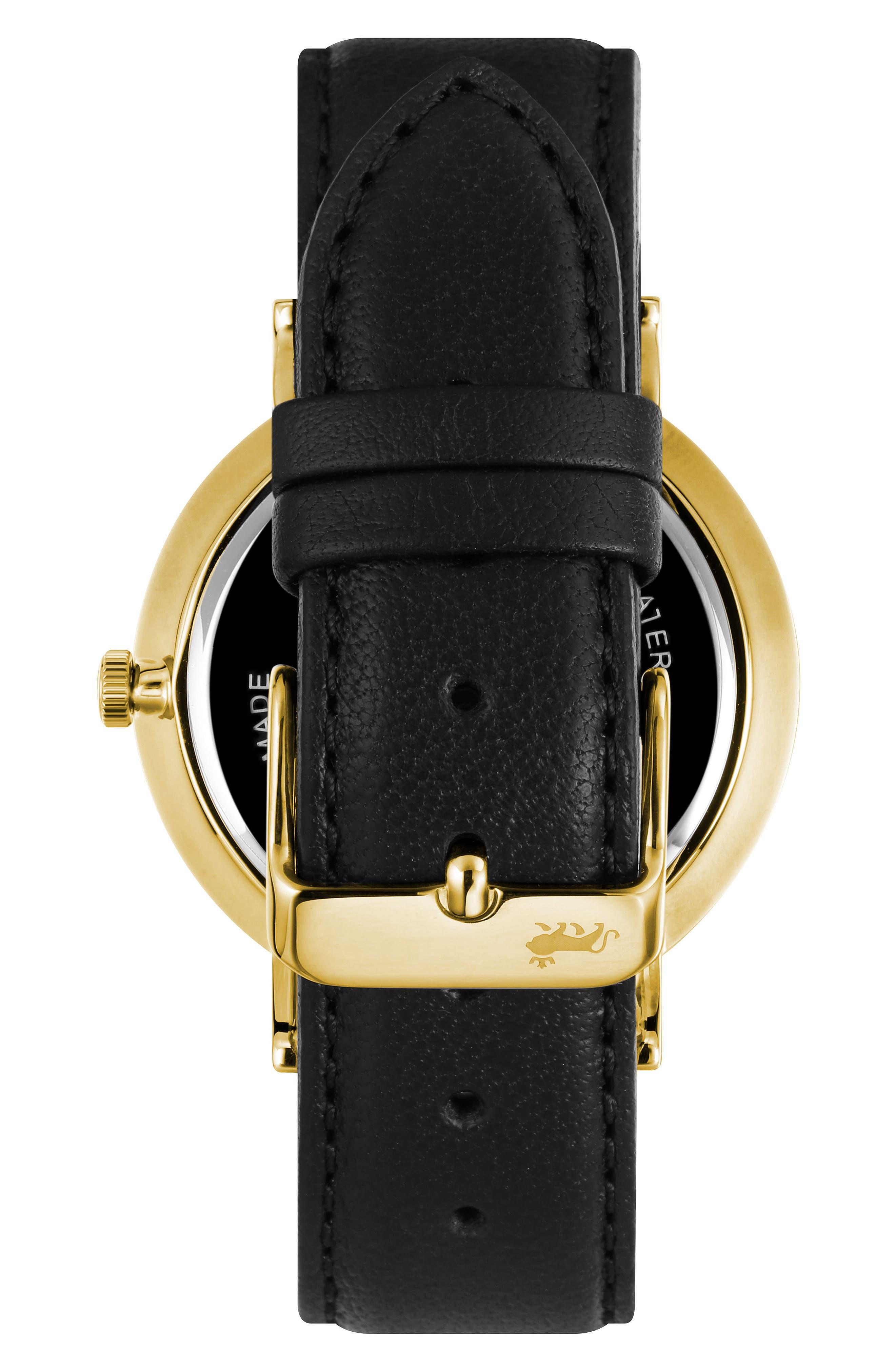 LARSSON & JENNINGS, Lugano Leather Strap Watch, 38mm, Alternate thumbnail 2, color, 001
