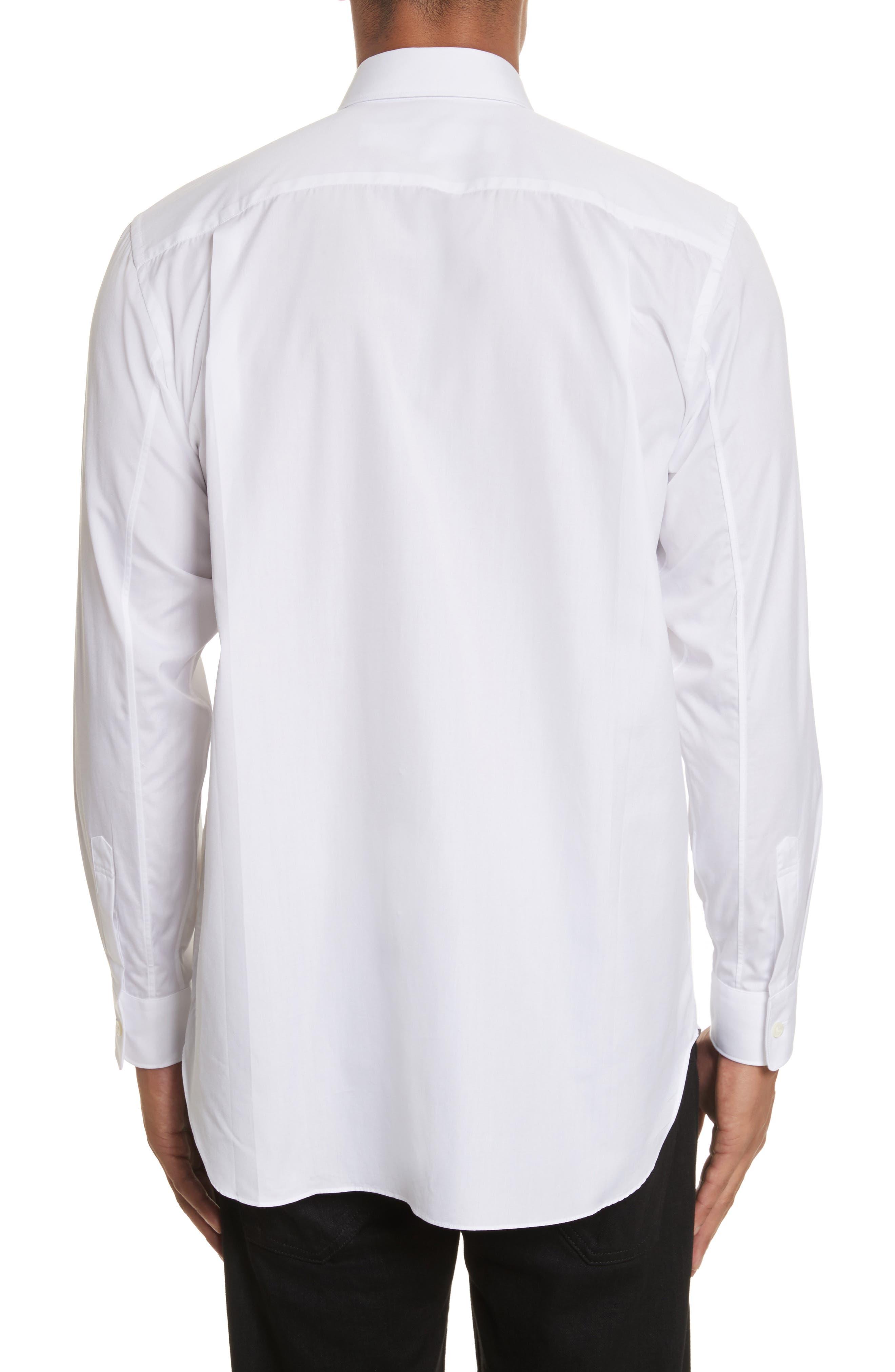 COMME DES GARÇONS PLAY, Woven Cotton Shirt, Alternate thumbnail 3, color, WHITE