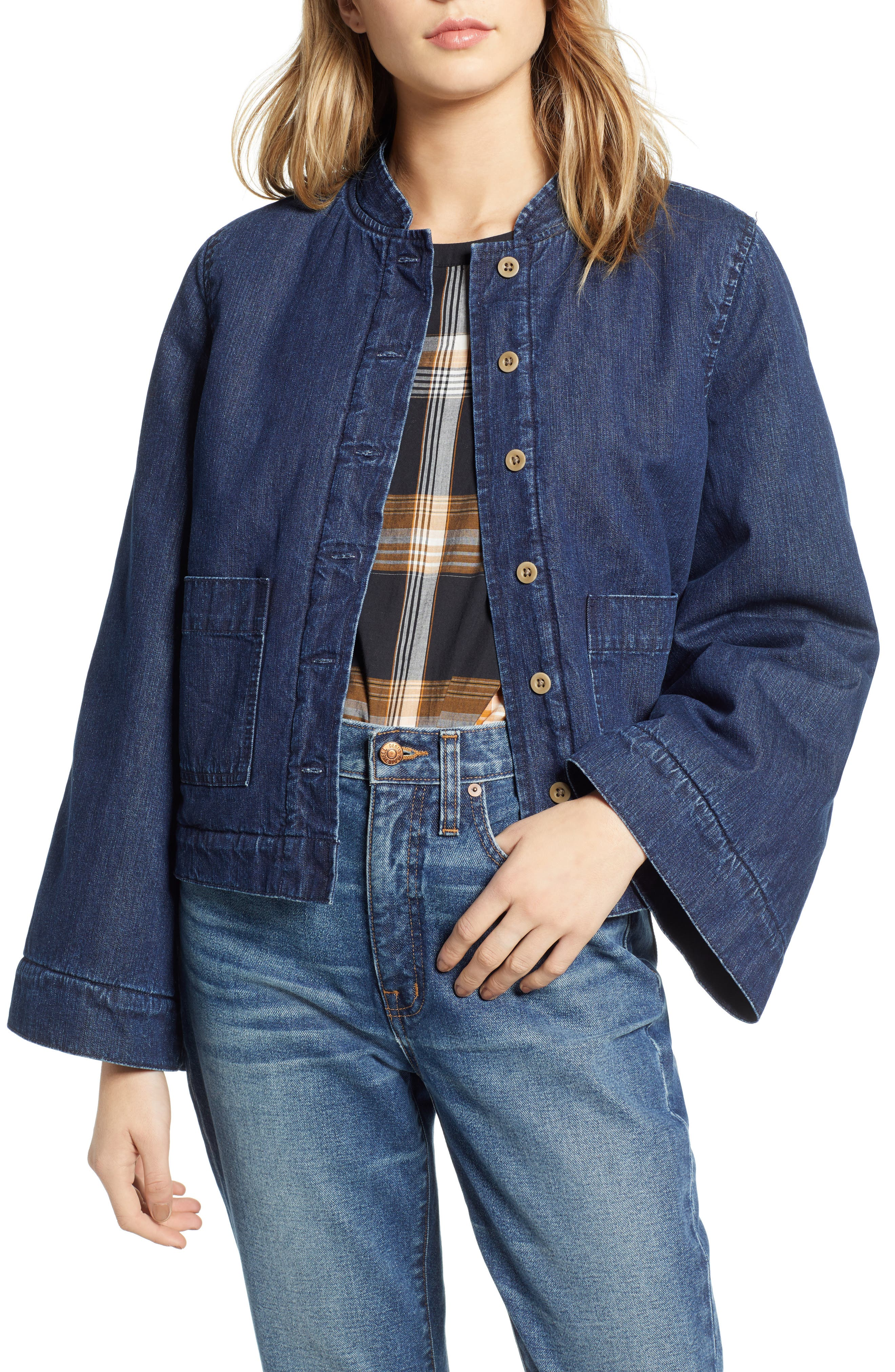 MADEWELL, Reversible Fleece Jean Jacket, Main thumbnail 1, color, 400