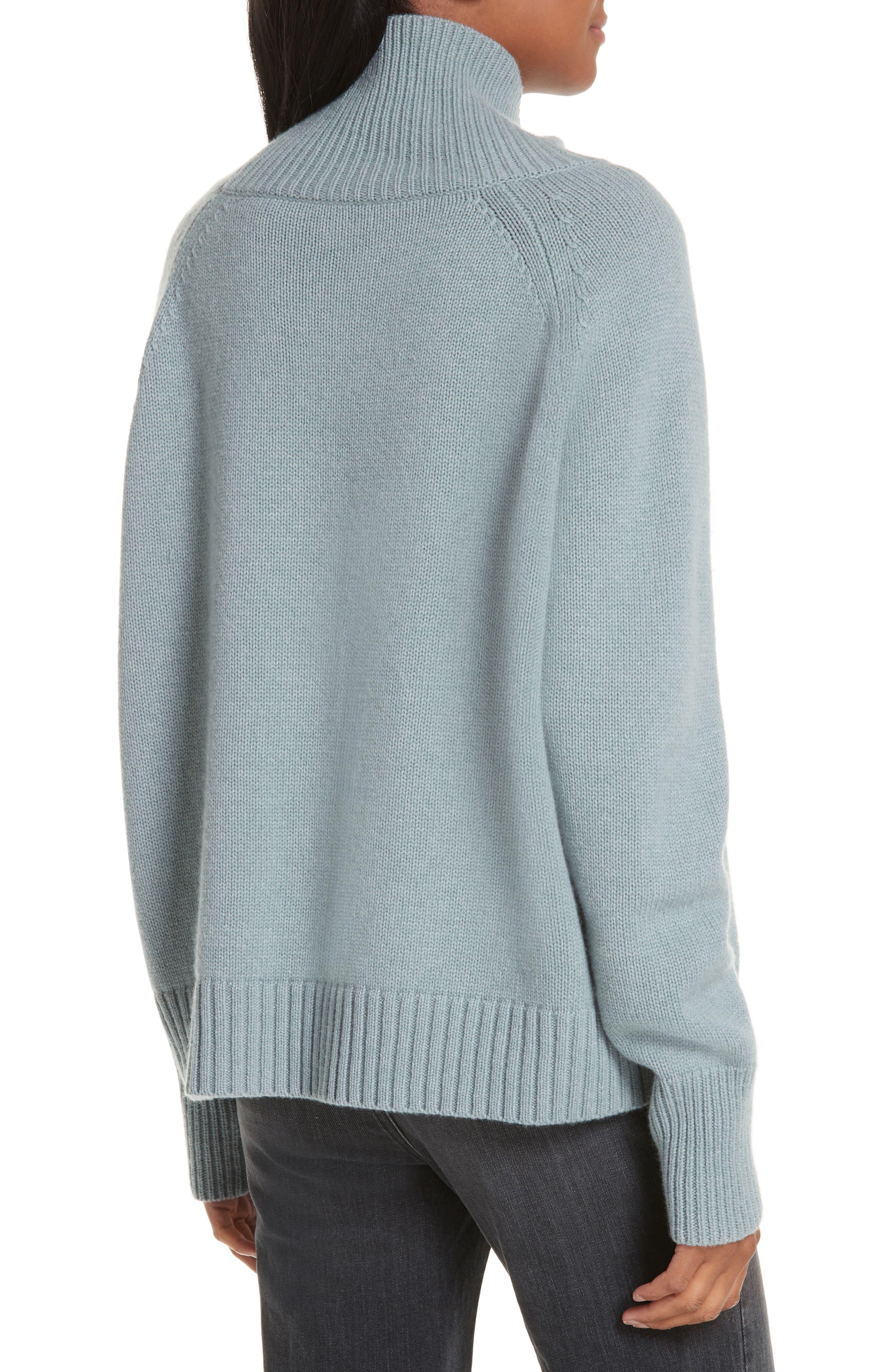 NILI LOTAN, Mariah Funnel Neck Cashmere Sweater, Alternate thumbnail 2, color, SKY BLUE