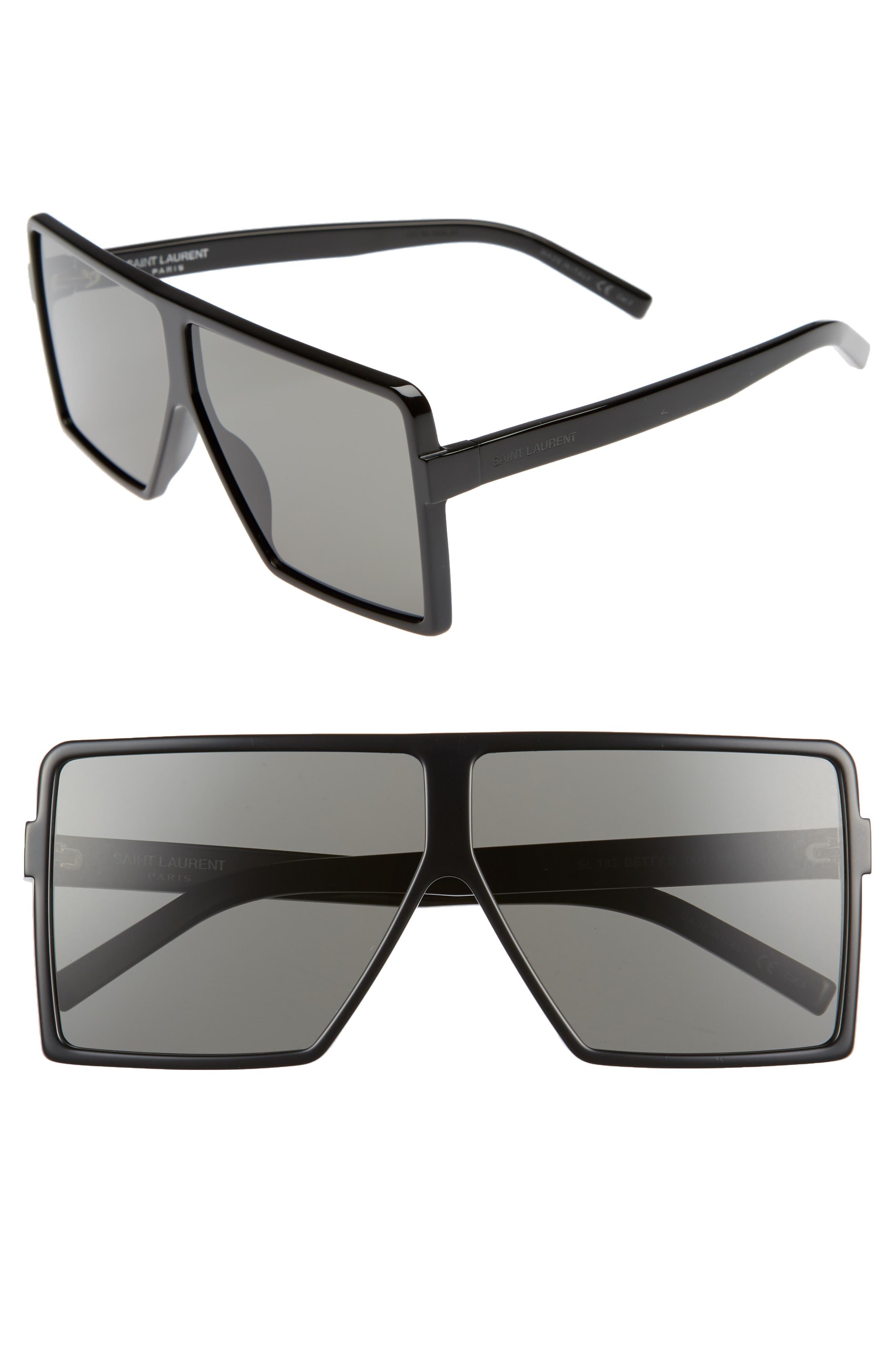 SAINT LAURENT, Betty 63mm Oversize Shield Sunglasses, Main thumbnail 1, color, BLACK