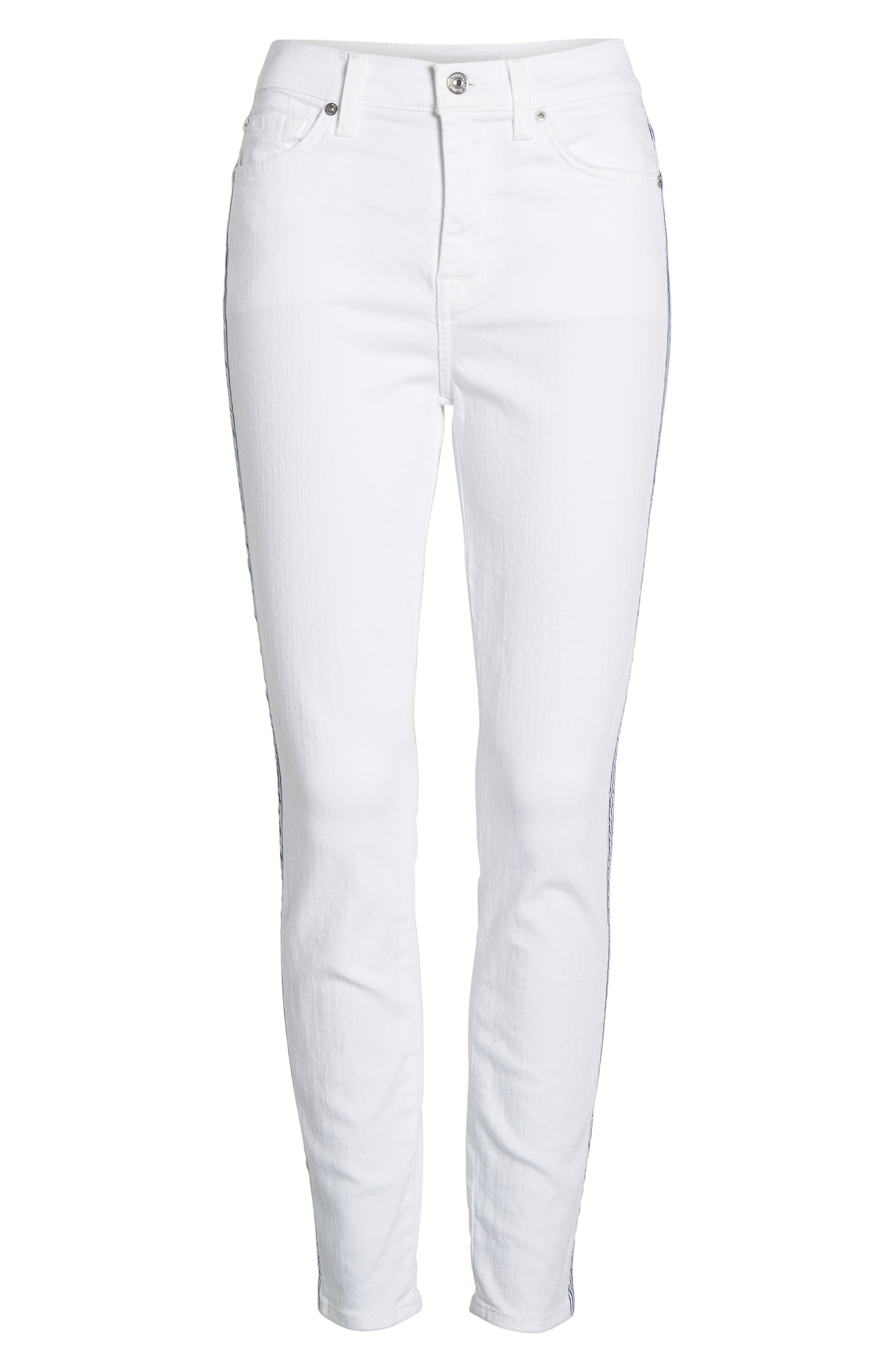 7 FOR ALL MANKIND<SUP>®</SUP>, Side Stripe High Waist Ankle Skinny Jeans, Alternate thumbnail 7, color, WHITE RUNWAY DENIM