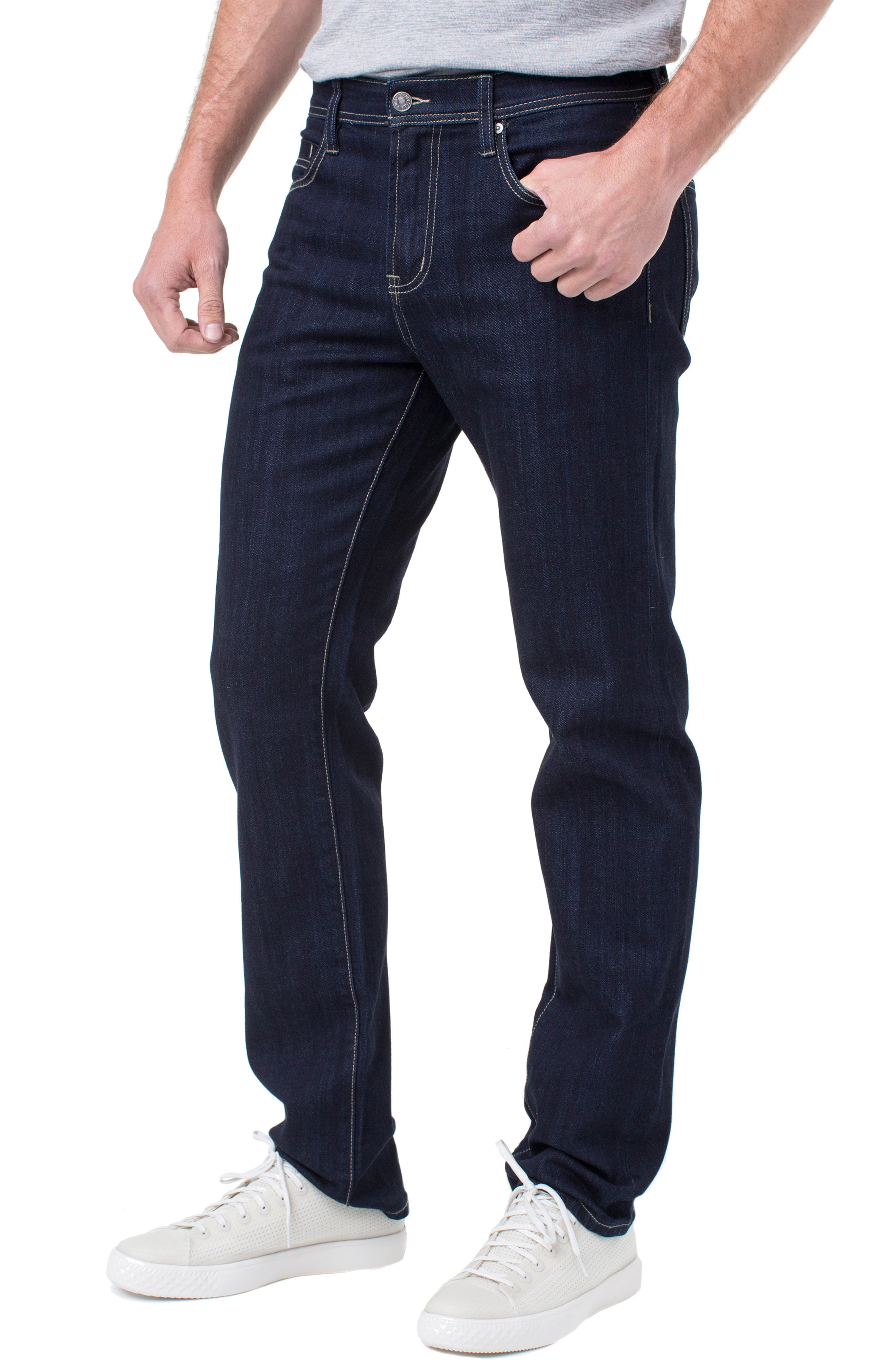 LIVERPOOL, Regent Relaxed Straight Leg Jeans, Alternate thumbnail 3, color, IND RINSE