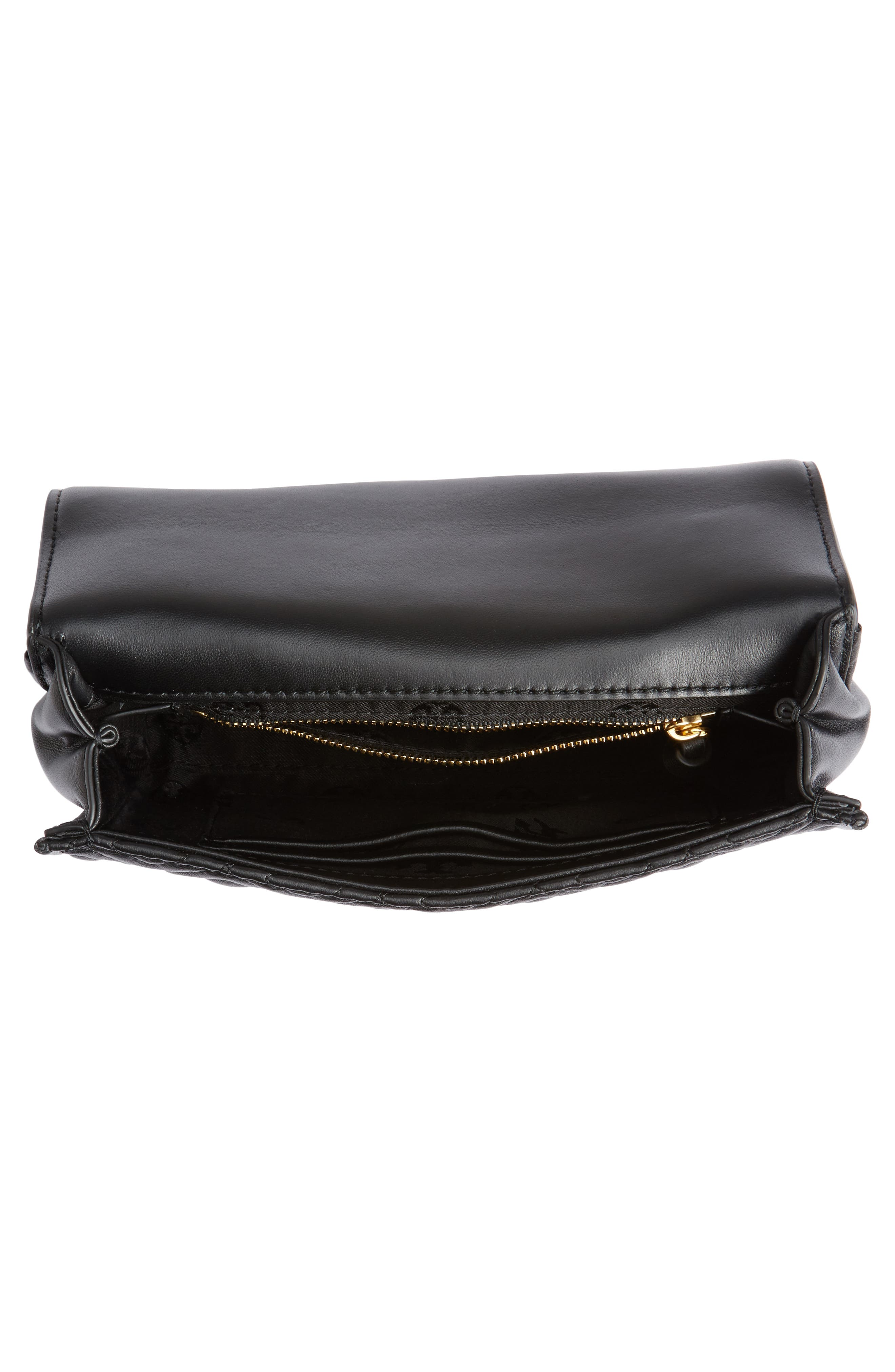 TORY BURCH, Small Fleming Leather Convertible Shoulder Bag, Alternate thumbnail 5, color, BLACK